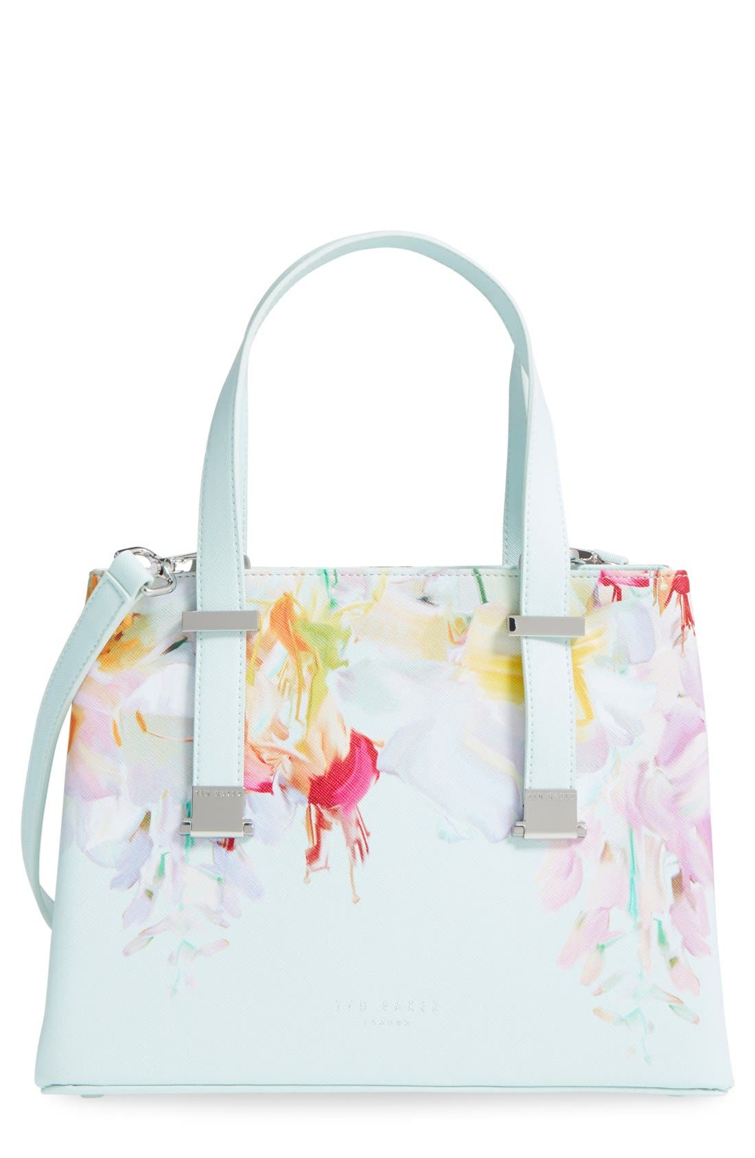 Main Image - Ted Baker London 'Hanging Gardens' Floral Print Faux Leather Shopper