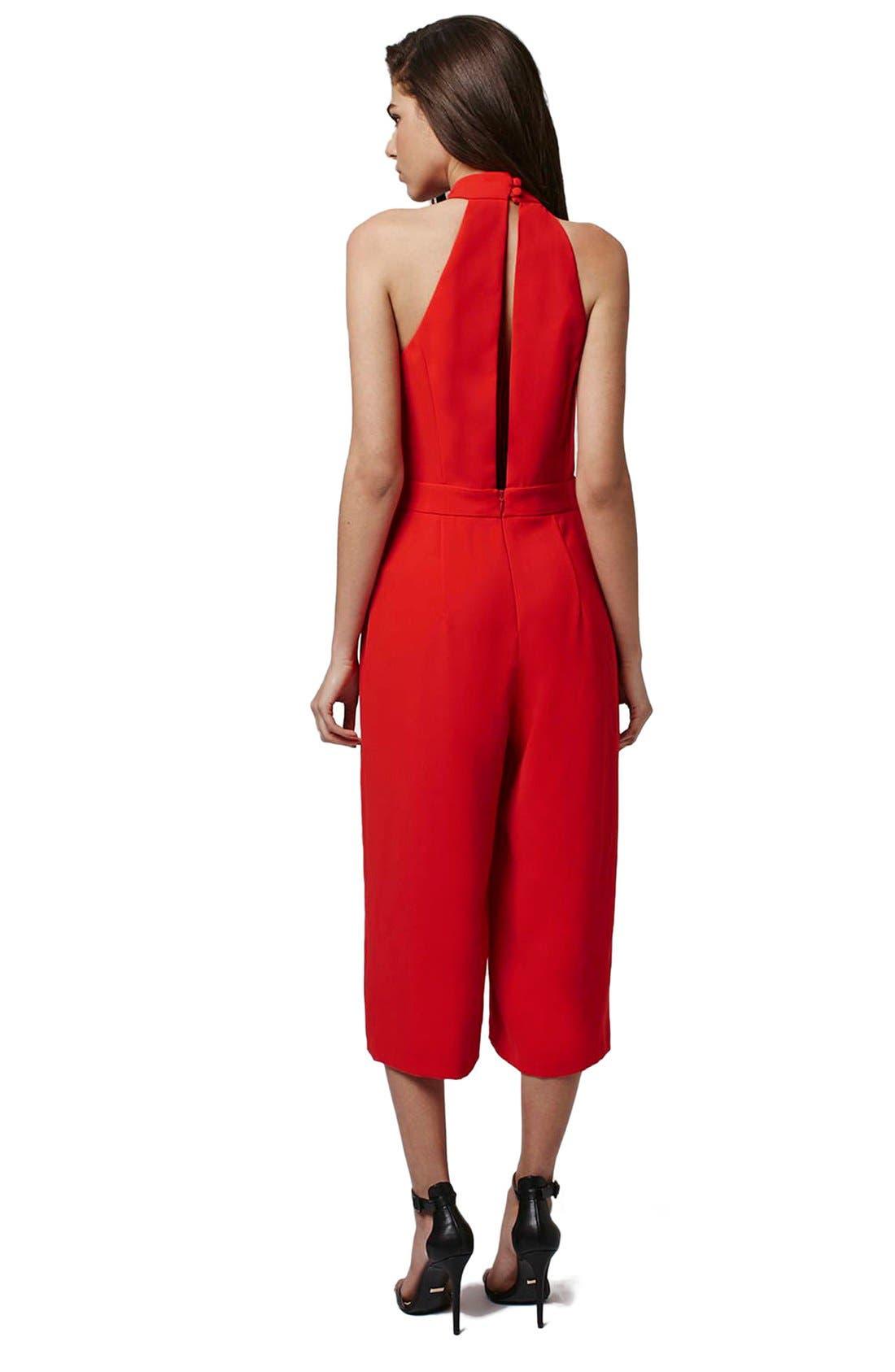 Halter Style Culotte Jumpsuit,                             Alternate thumbnail 2, color,                             Red
