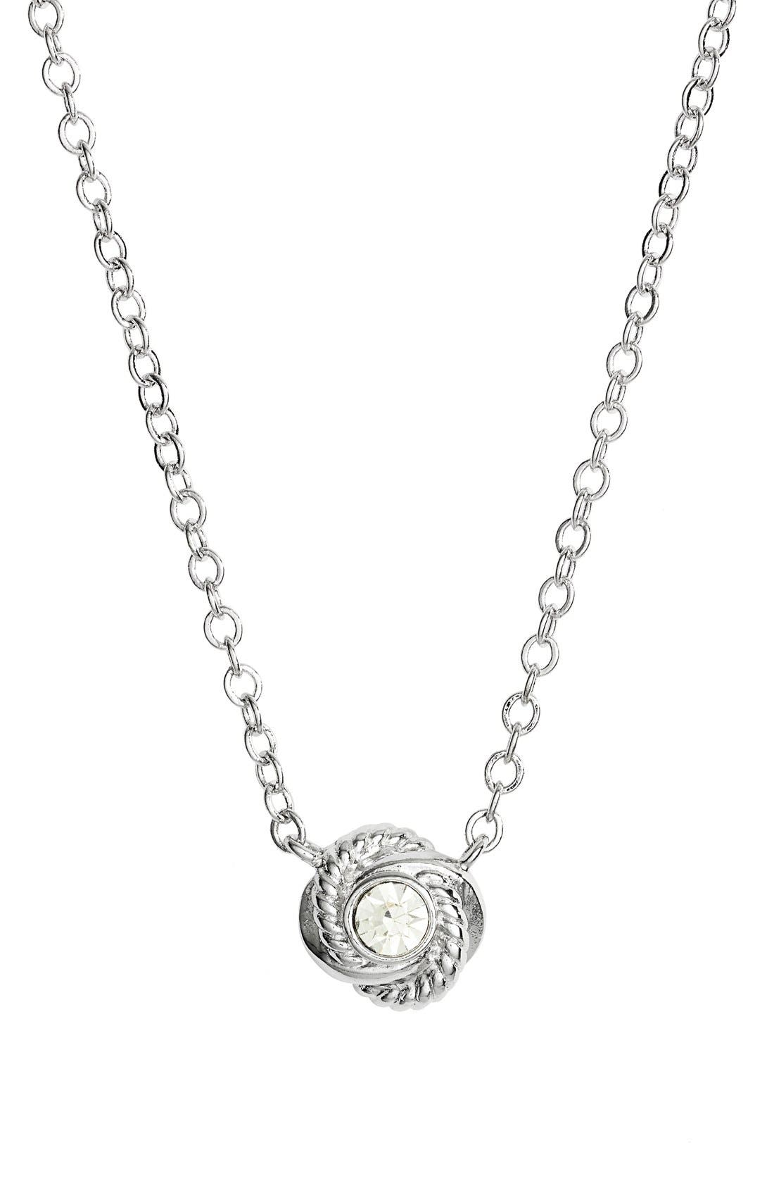 'infinity and beyond' knot necklace,                             Main thumbnail 1, color,                             Clear/ Silver