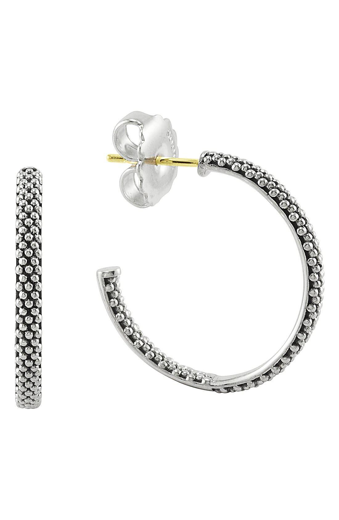 Caviar Hoop Earrings,                             Main thumbnail 1, color,                             Sterling Silver