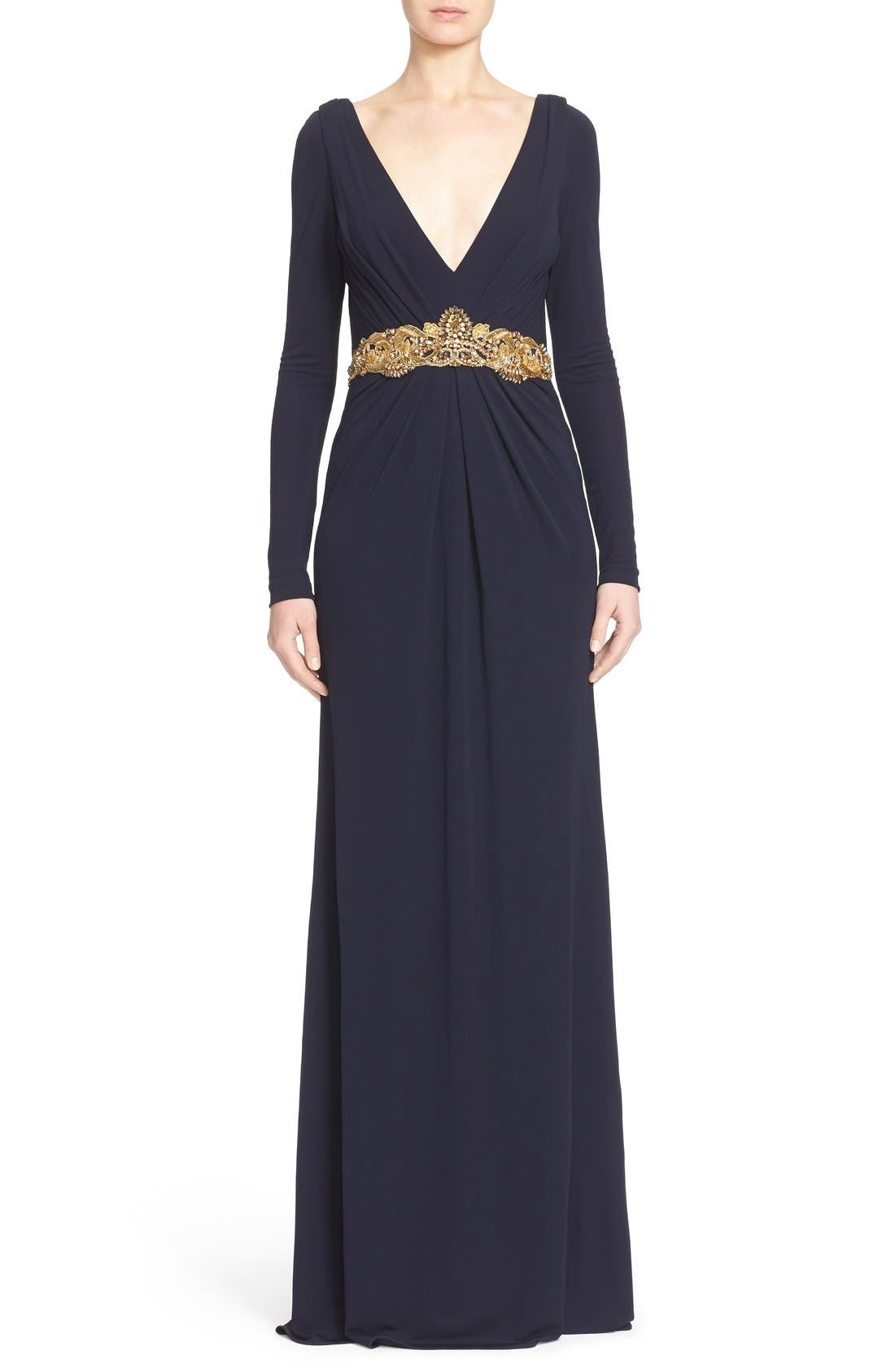 Badgley Mischka Couture Embellished Waist Plunging V-Neck Jersey Gown