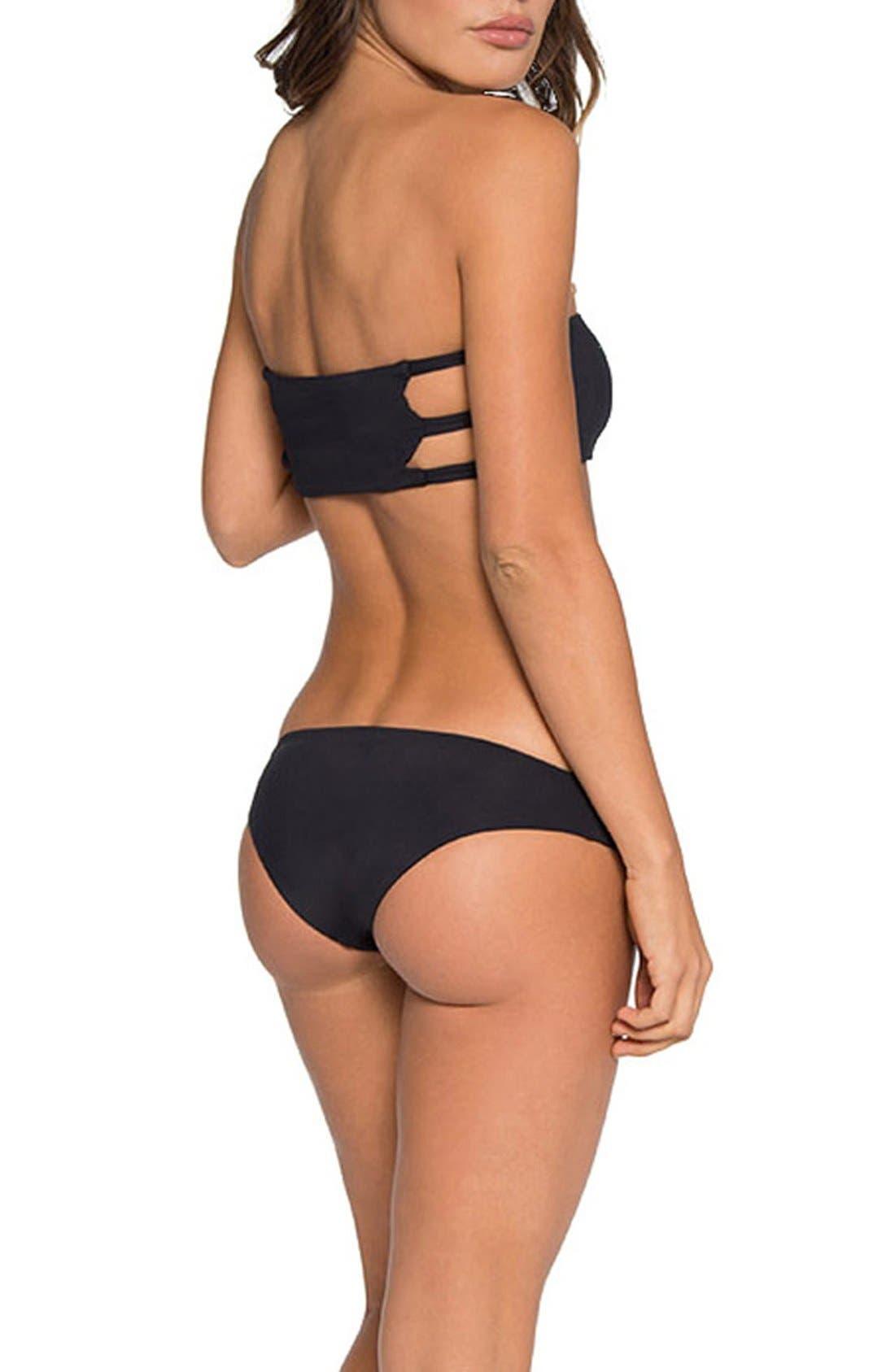 'Ali' Moderate Coverage Bikini Bottoms,                             Alternate thumbnail 6, color,                             Black