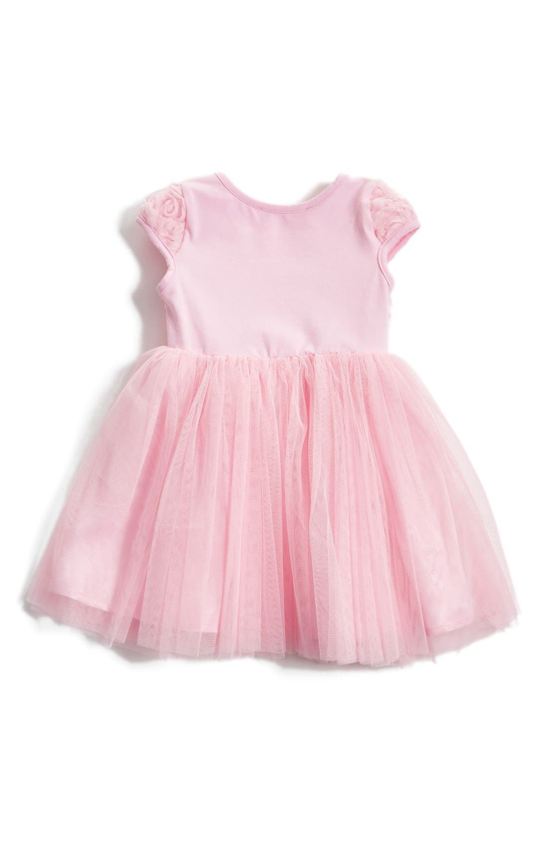 Alternate Image 2  - Popatu Short Sleeve Tulle Dress (Baby Girls)