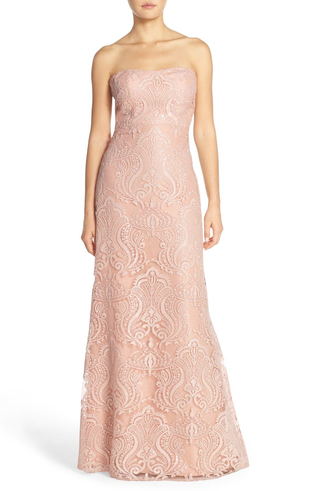 Sadie Sequin Lace Strapless A-Line Gown,                         Main,                         color, Blush