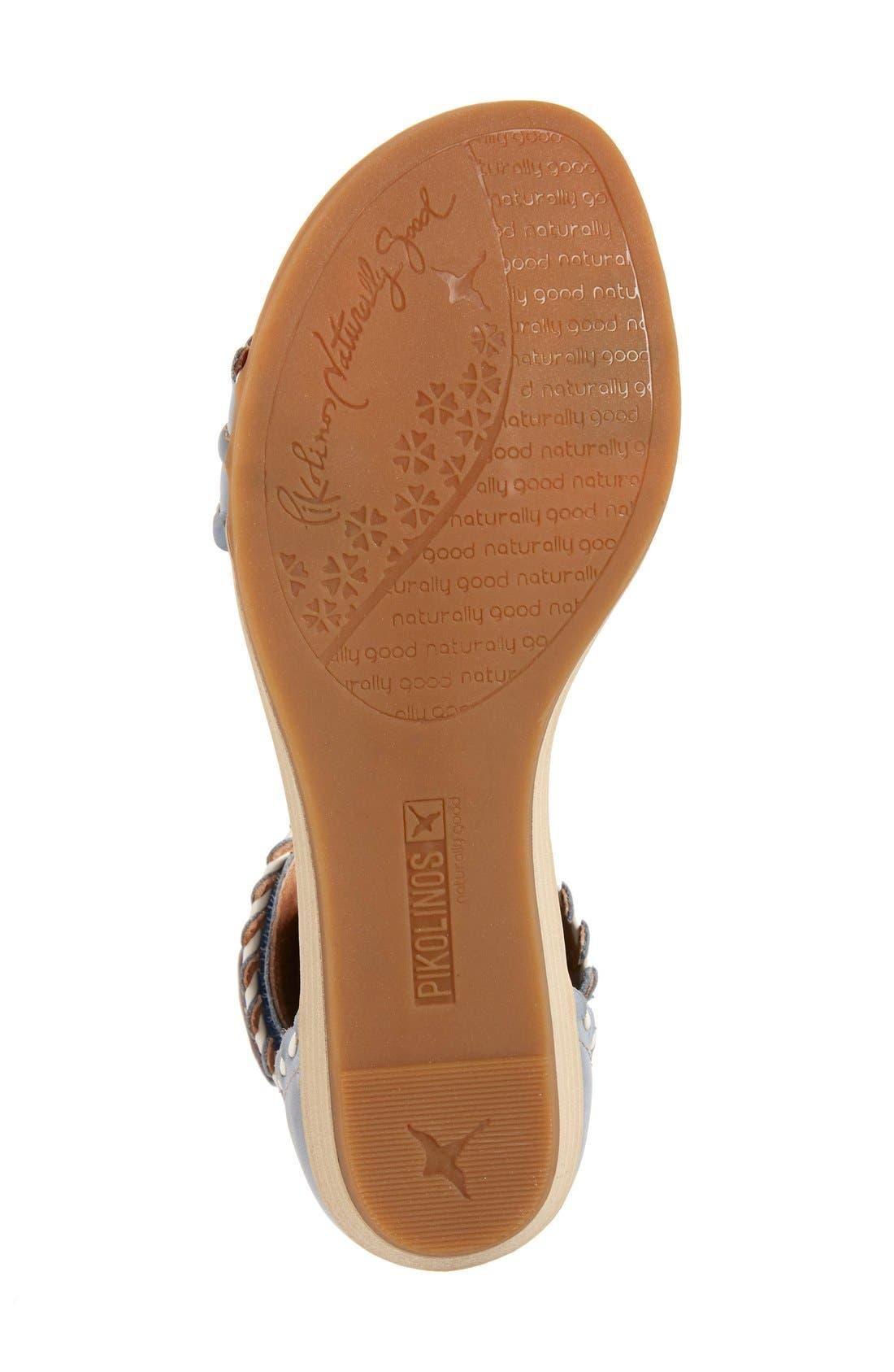 'Alcudia' Ankle Strap Sandal,                             Alternate thumbnail 4, color,                             Denim Leather