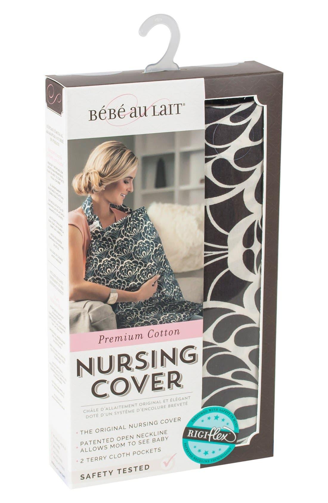 Cotton Nursing Cover,                             Alternate thumbnail 3, color,                             Black/ Cream