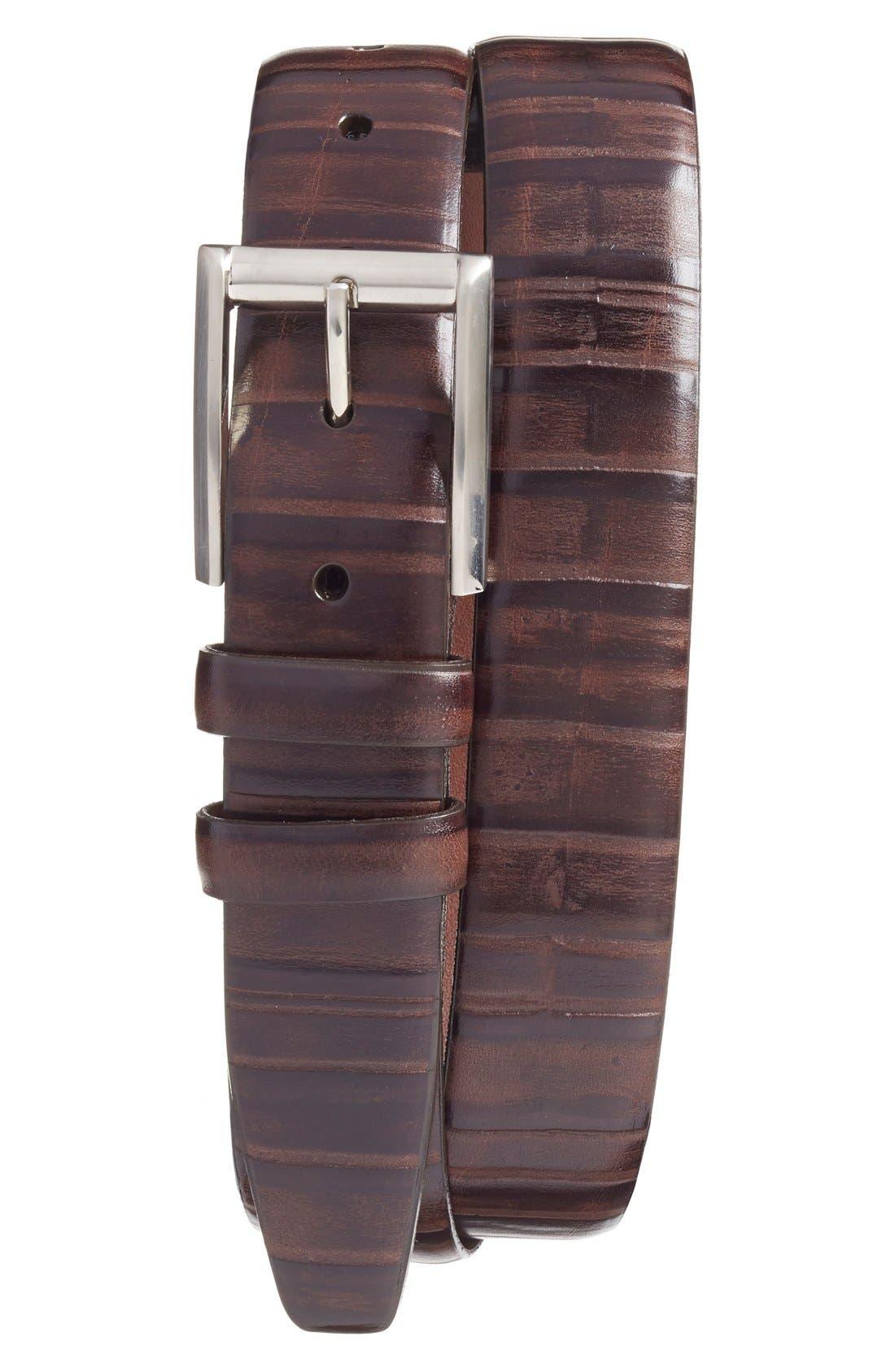 Ribbed Kipskin Leather Belt,                         Main,                         color, Brown