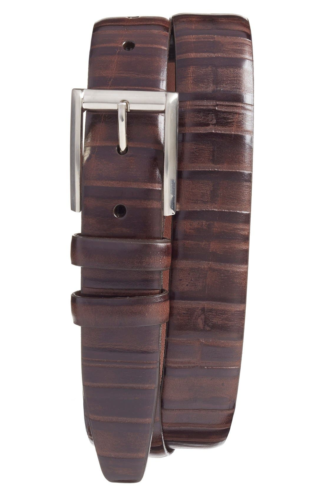 Ribbed Kipskin Leather Belt,                         Main,                         color, Brown