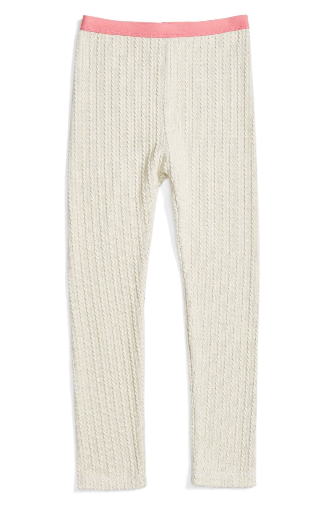 Cable Knit Leggings,                             Main thumbnail 1, color,                             Ivory Vanilla