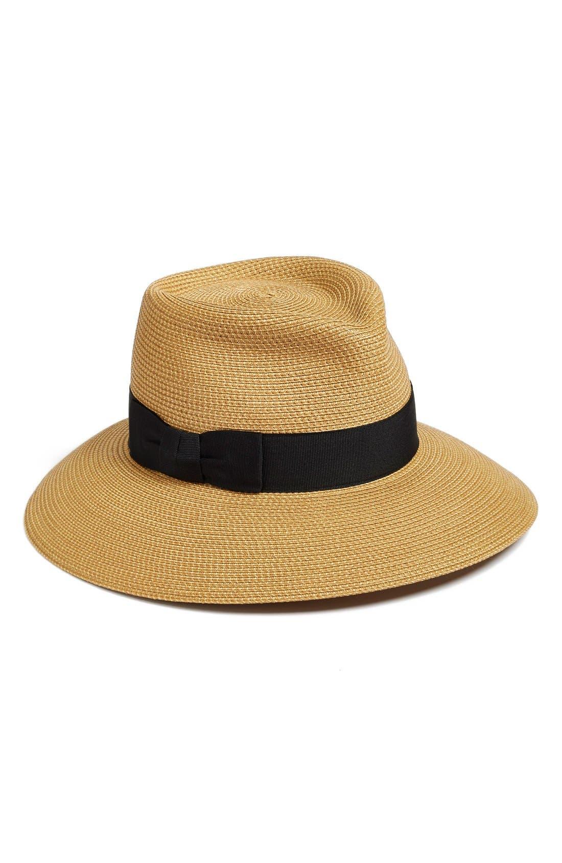 'Phoenix' Packable Fedora Sun Hat,                             Main thumbnail 1, color,                             Natural/ Black