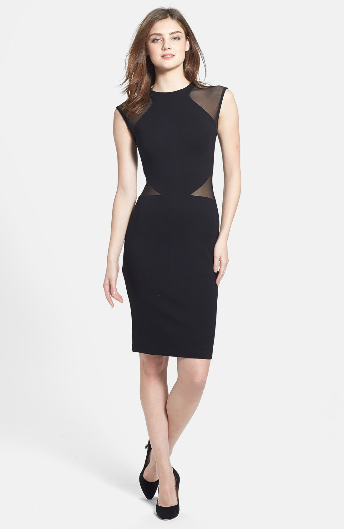 French Connection 'Viven' Mesh Inset Body-Con Dress