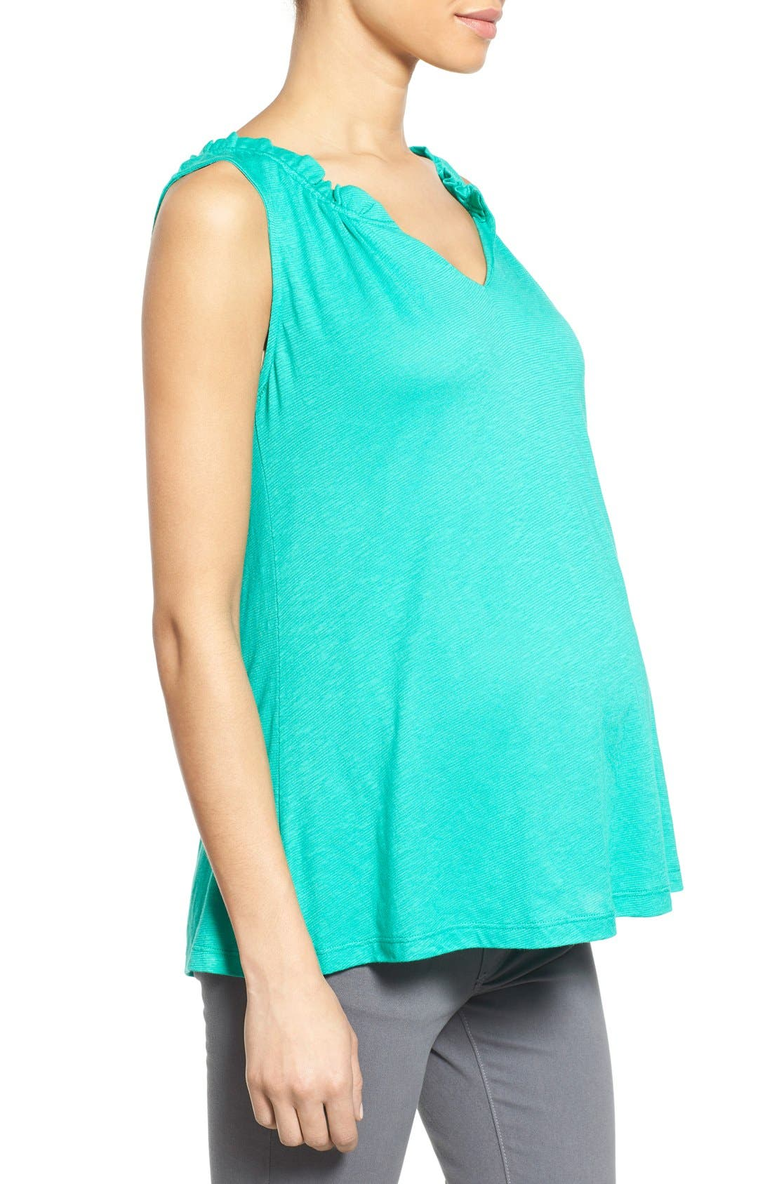 'Caitlin' Maternity Top,                             Alternate thumbnail 3, color,                             Green