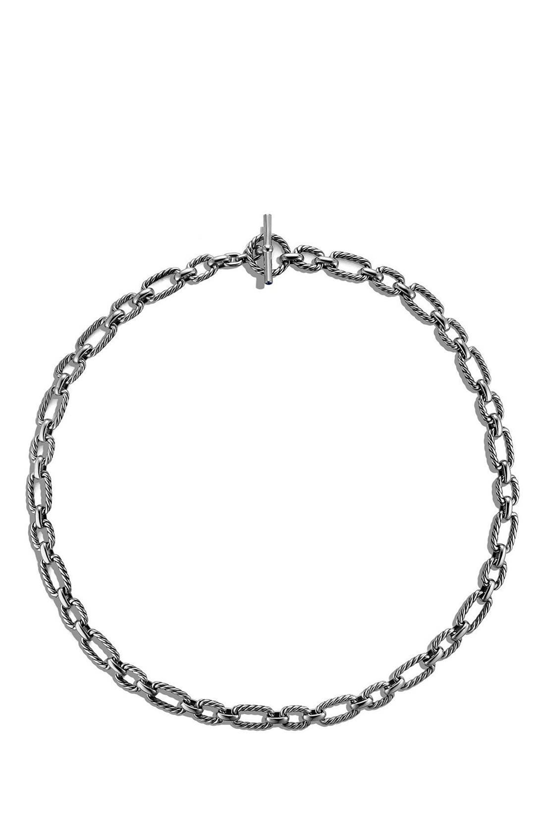 David Yurman 'Chain' Cushion Link Necklace with Blue Sapphires