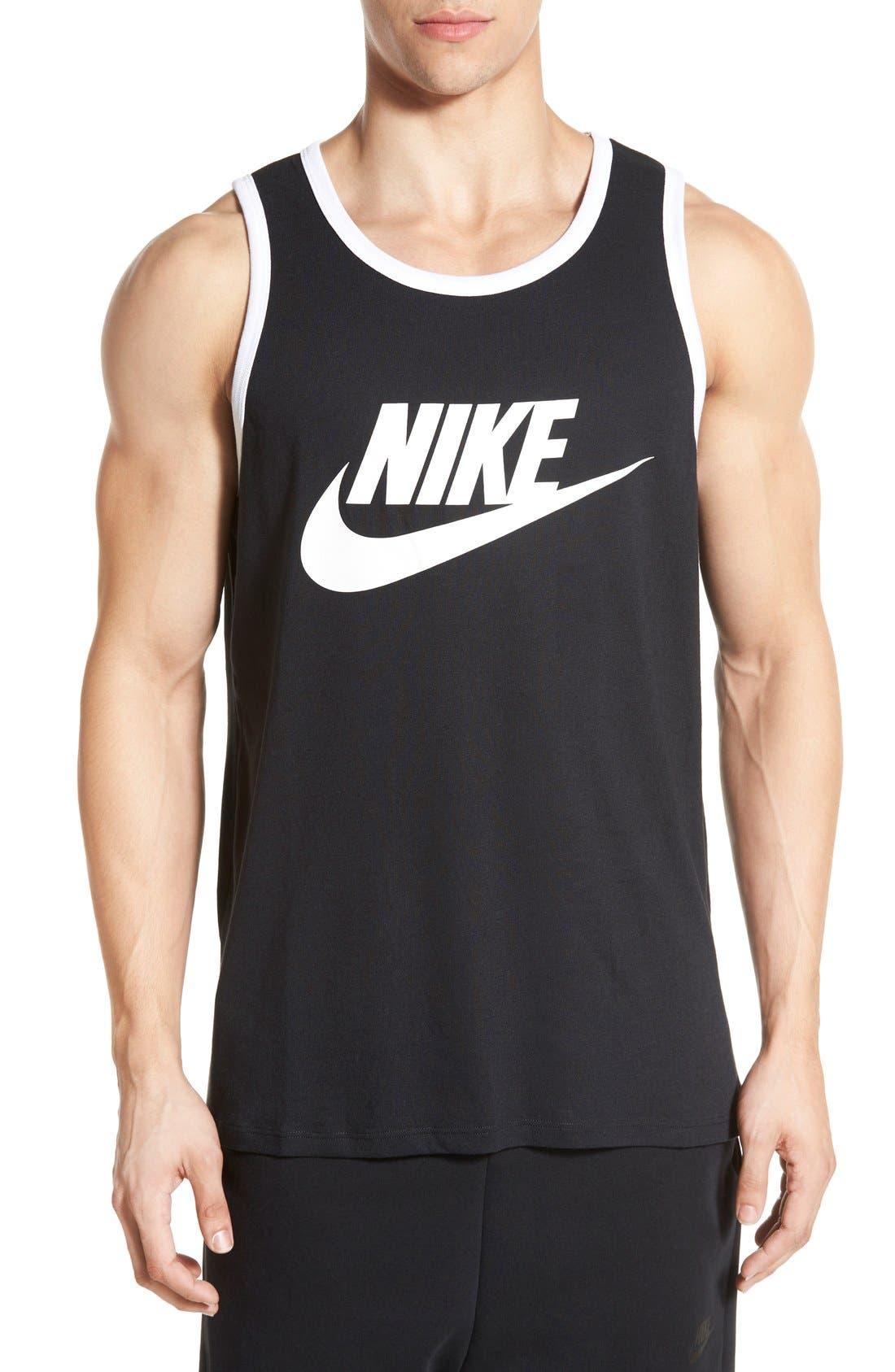 'Ace Sportswear Logo' Graphic Tank,                             Main thumbnail 1, color,                             Black/ White/ White