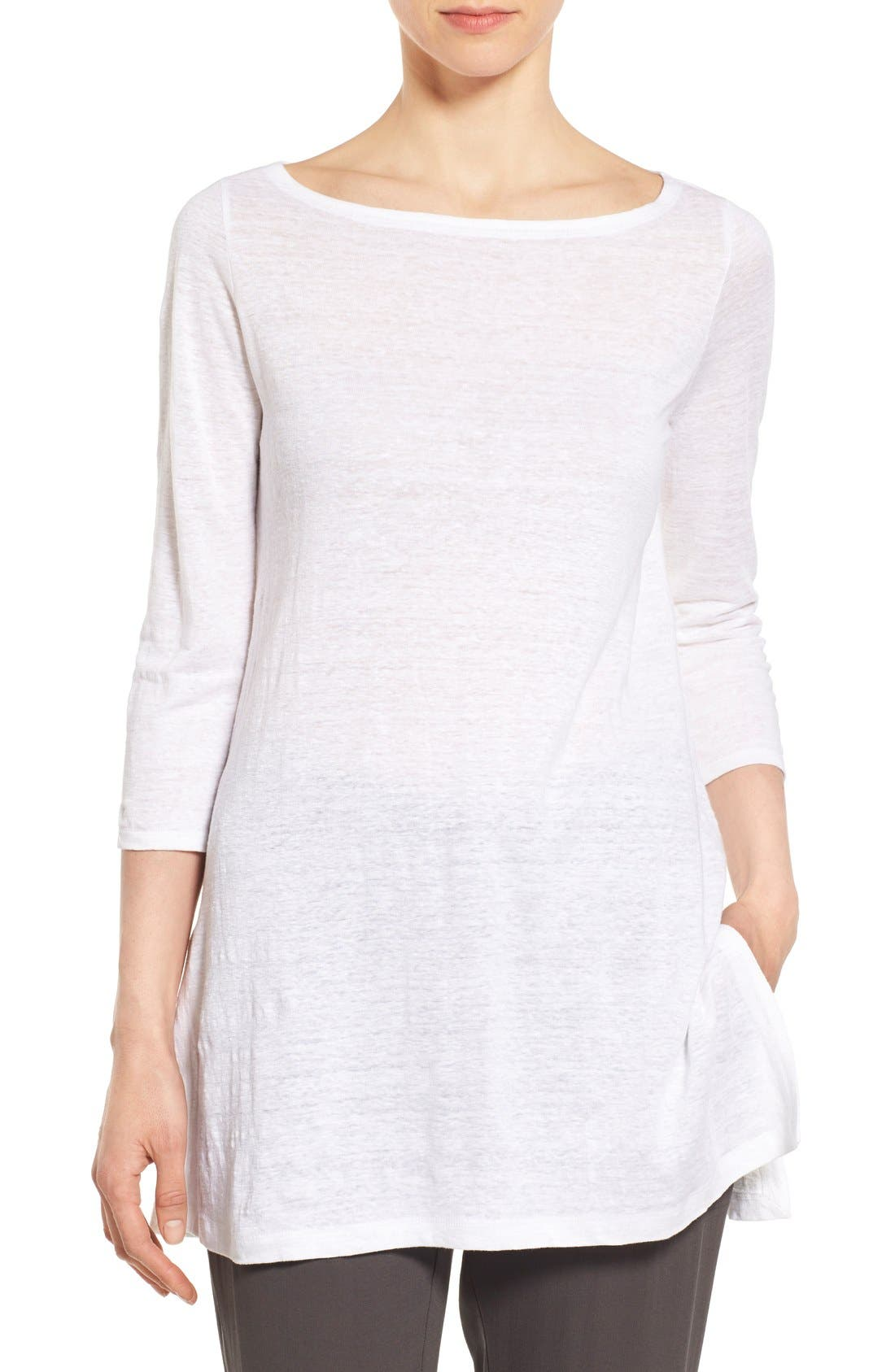 Alternate Image 1 Selected - Eileen Fisher Bateau Neck Organic Linen Tunic (Regular & Petite)