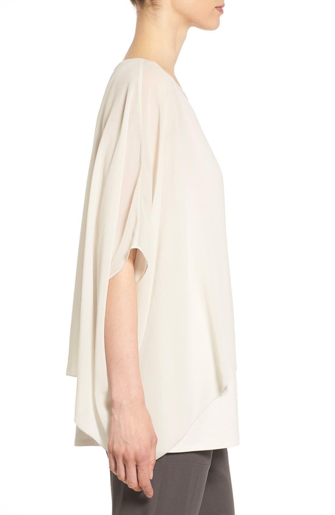 Alternate Image 3  - Eileen Fisher Sheer Silk Georgette Top (Regular & Petite)