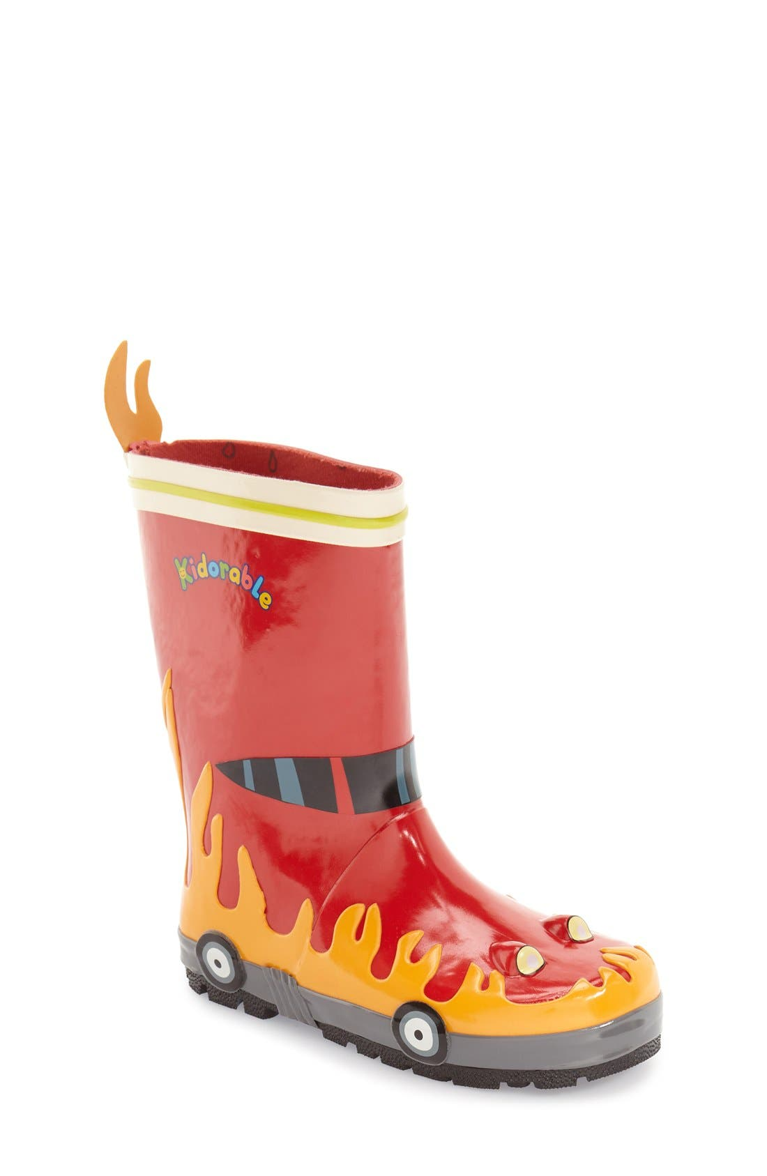 Alternate Image 1 Selected - Kidorable 'Fireman' Waterproof Rain Boot (Walker, Toddler & Little Kid)