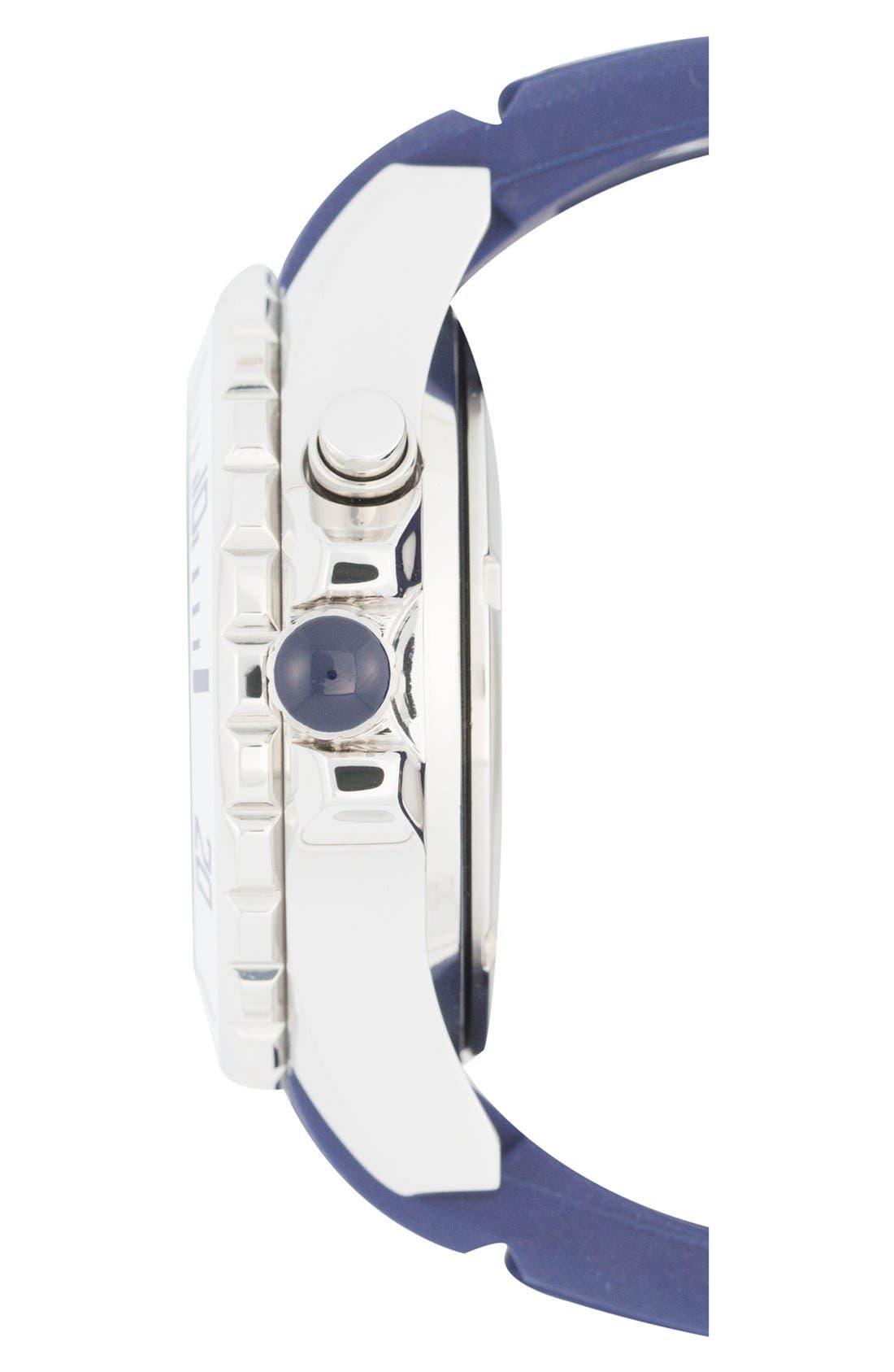 'Marine Voyager' Silicone Strap Watch, 40mm,                             Alternate thumbnail 3, color,                             Dark Blue/ Dark Blue