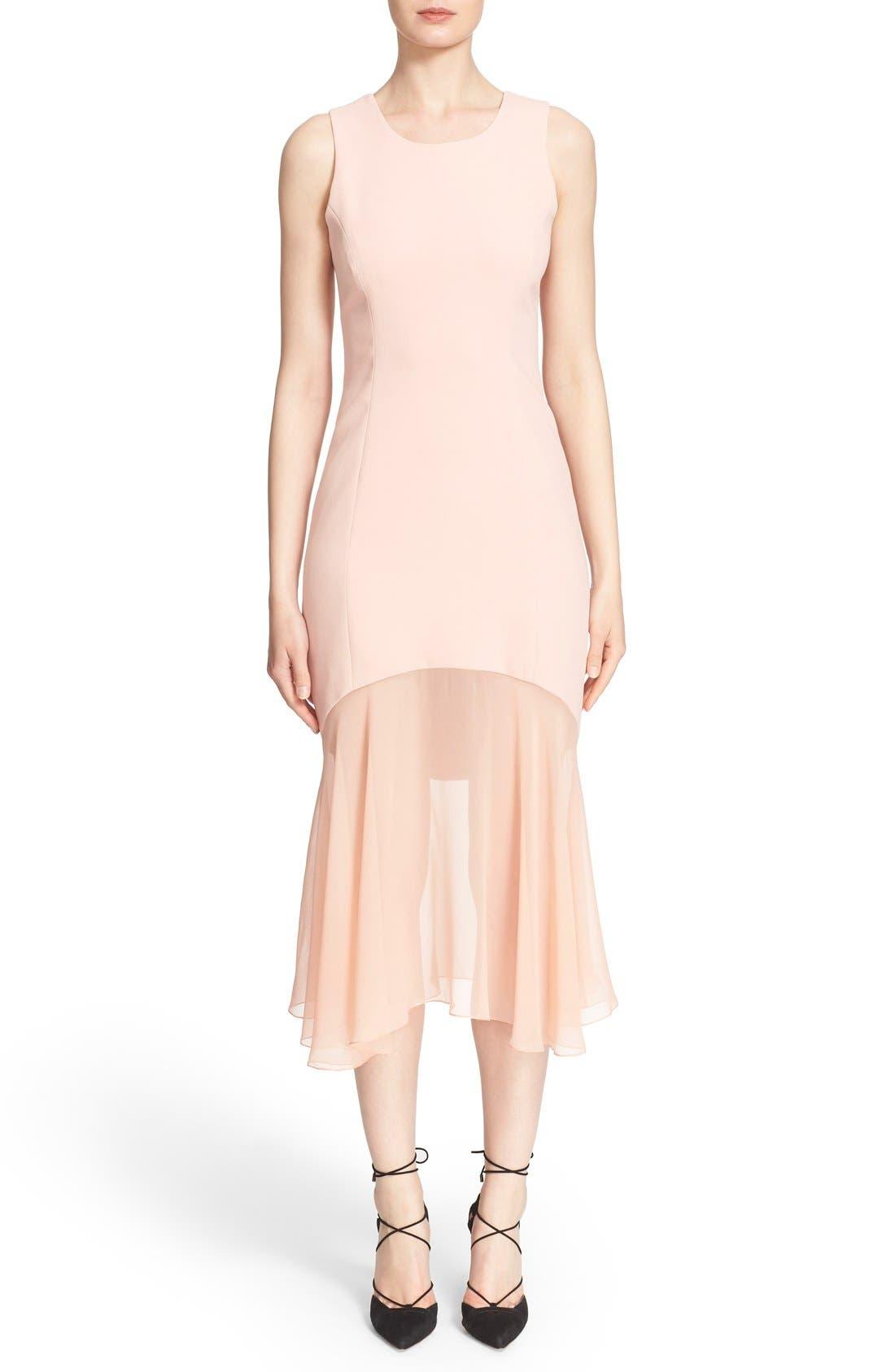 Sheer Hem Crepe Dress,                         Main,                         color, Tea Rose