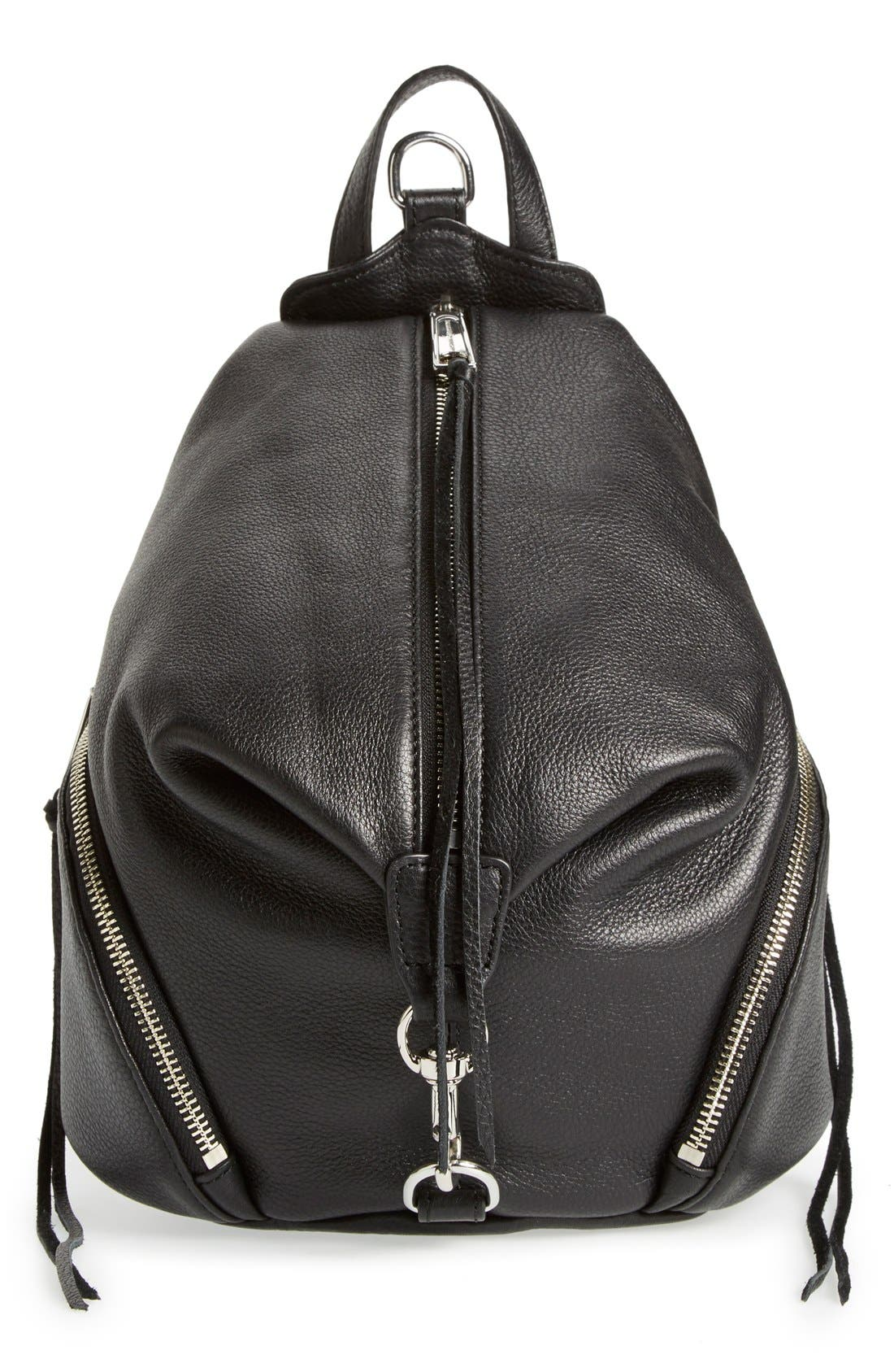 Medium Julian Backpack,                         Main,                         color, Black/ Silver Hrdwr