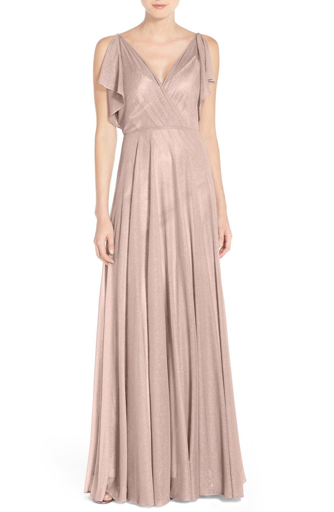 Alternate Image 1 Selected - Jenny Yoo 'Cassie' V-Neck Flutter Sleeve Shimmer Gown