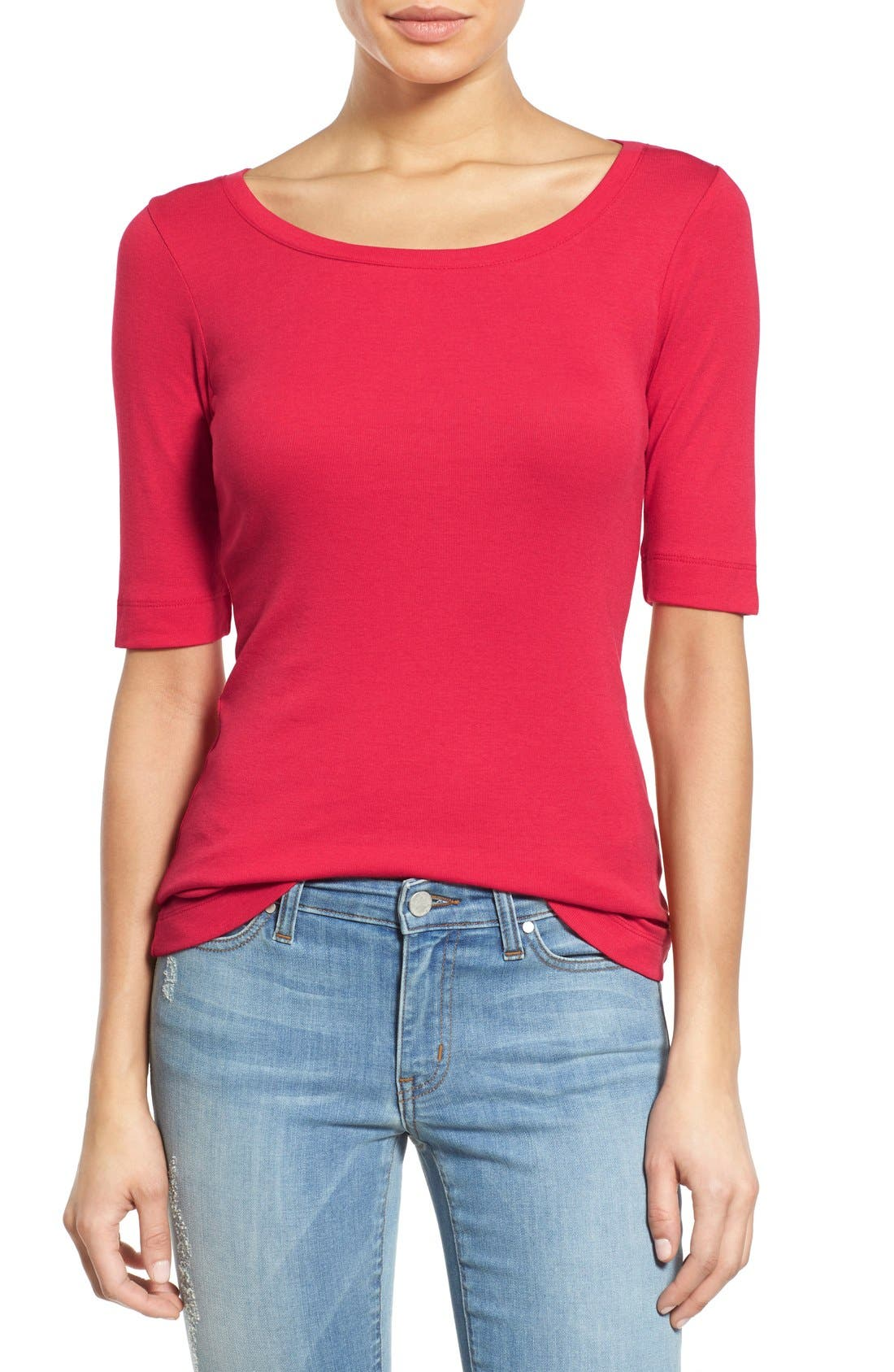 Ballet Neck Cotton & Modal Knit Elbow Sleeve Tee,                         Main,                         color, Red Barberry