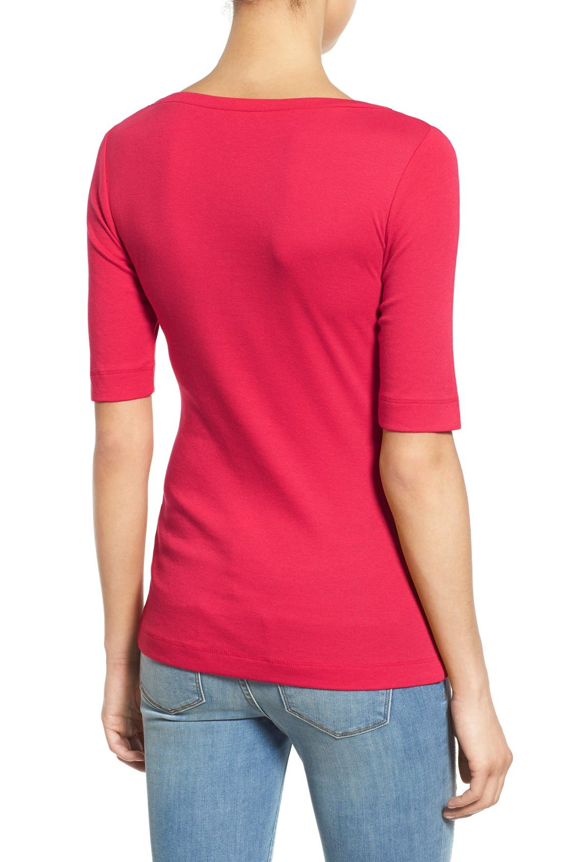 Ballet Neck Cotton & Modal Knit Elbow Sleeve Tee,                             Alternate thumbnail 2, color,                             Red Barberry