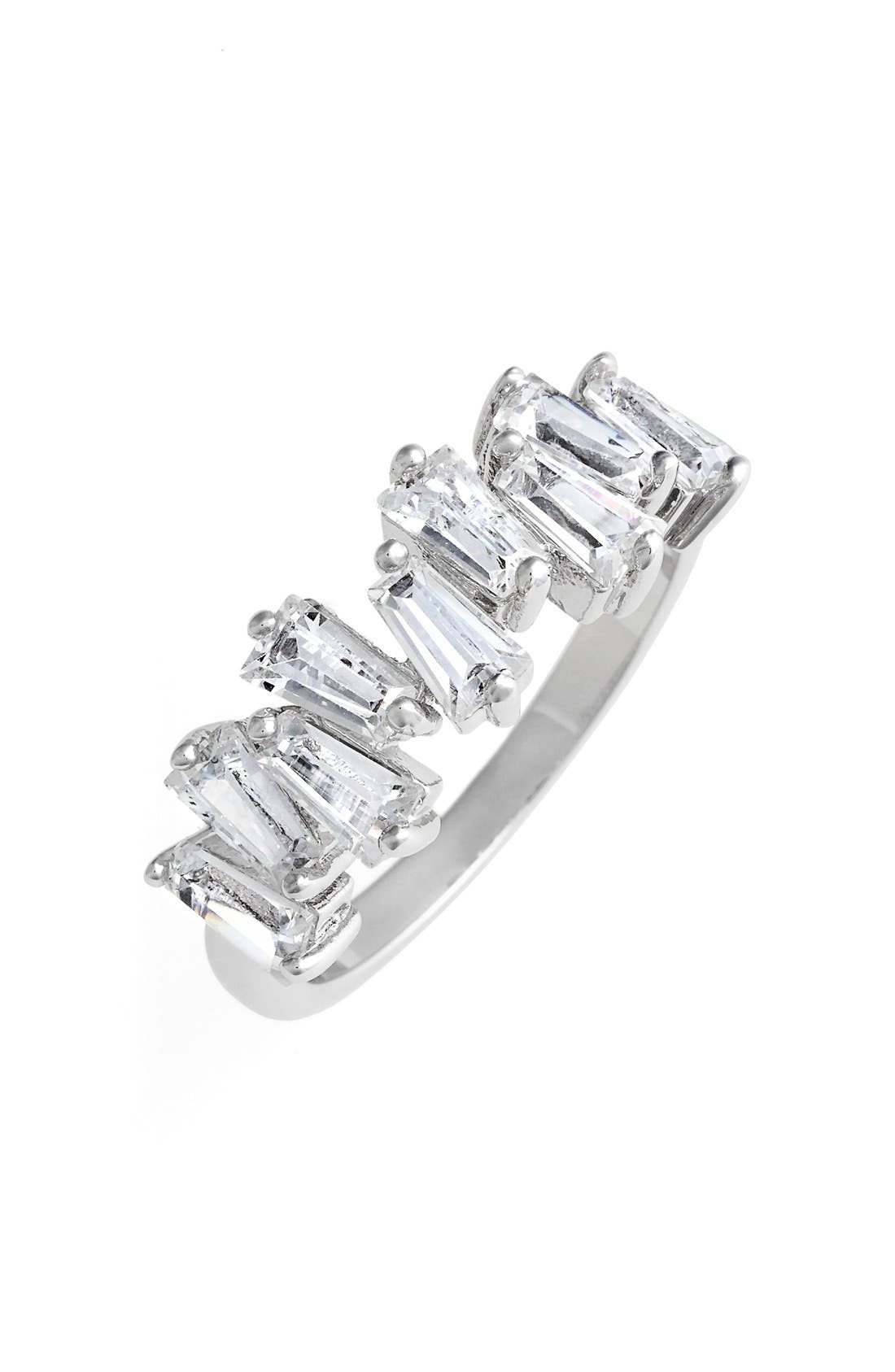CZ BY KENNETH JAY LANE Jagged Baguette Cubic Zirconia Band Ring