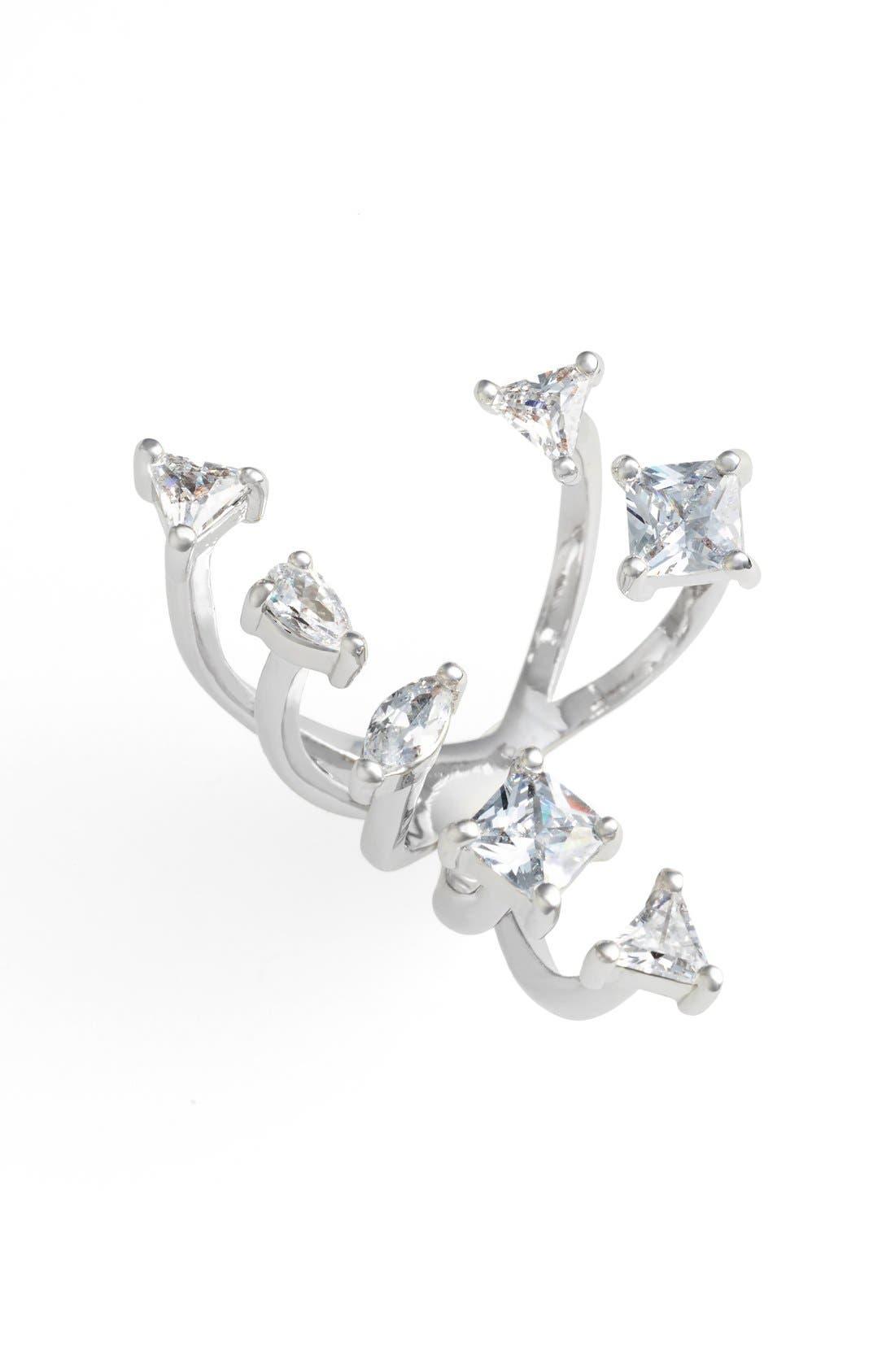 Asymmetrical Cubic Zirconia Open Ring,                         Main,                         color, Silver