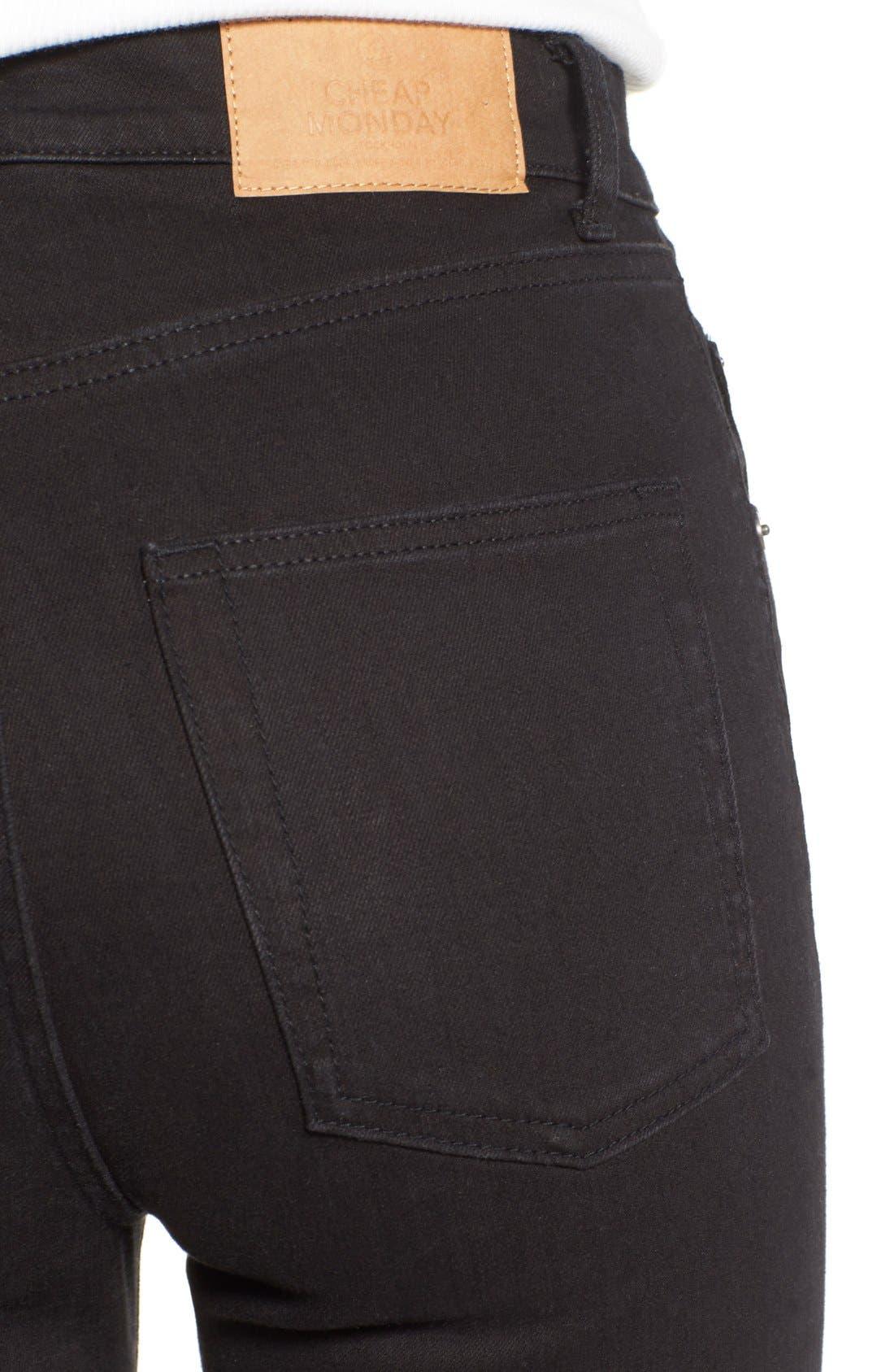 Alternate Image 4  - Cheap Monday High Rise Skinny Jeans (New Black)