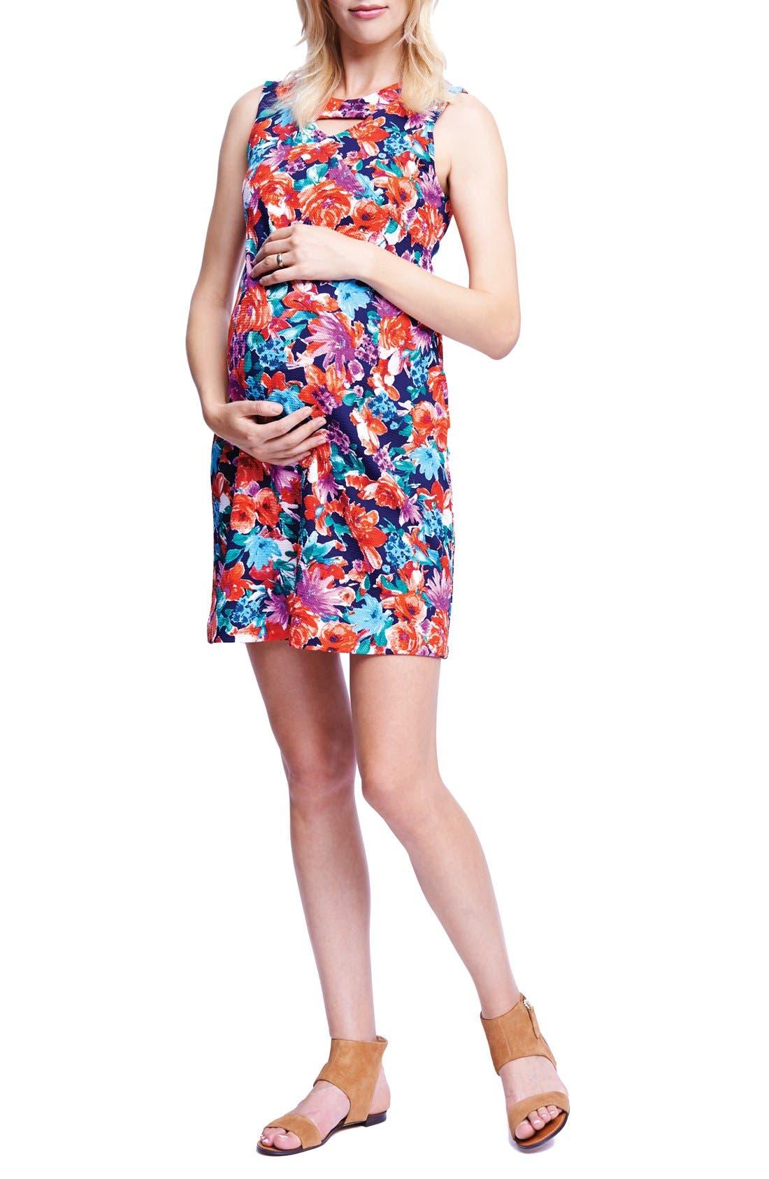 Keyhole Ponte Knit Maternity Dress,                         Main,                         color, Flrl Garden