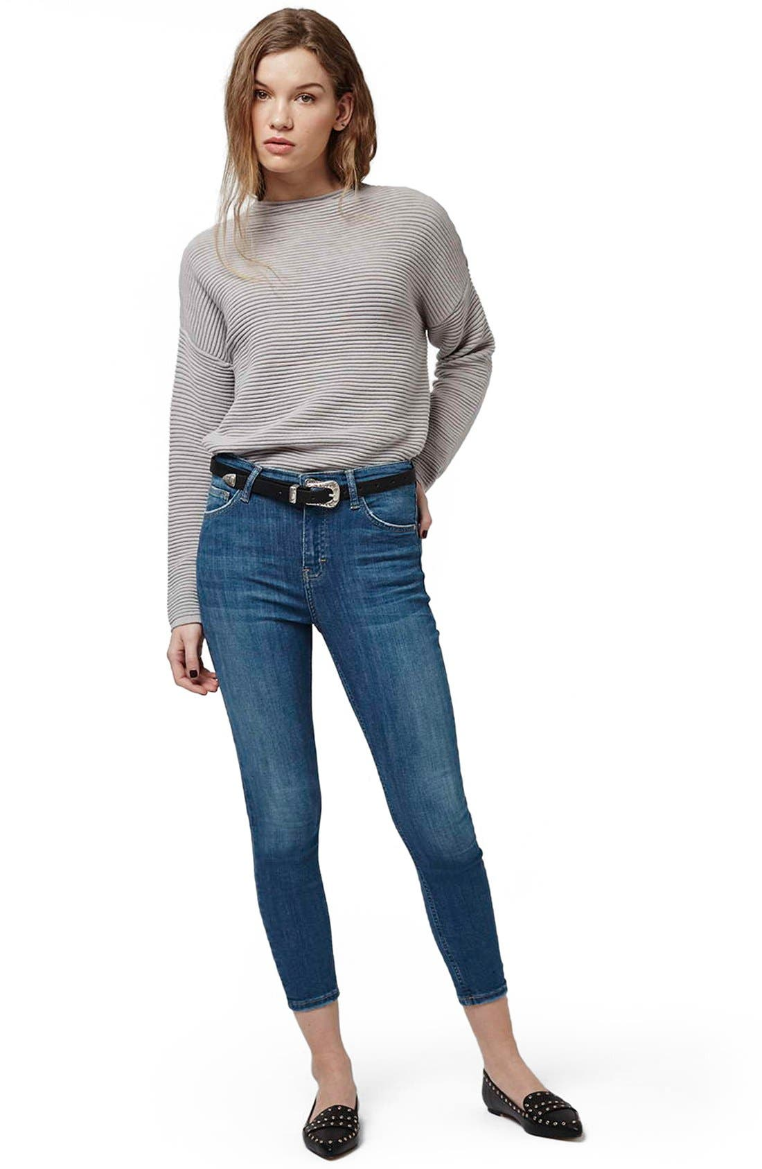 'Jamie' High Waist Ankle Skinny Jeans,                             Alternate thumbnail 2, color,                             Blue