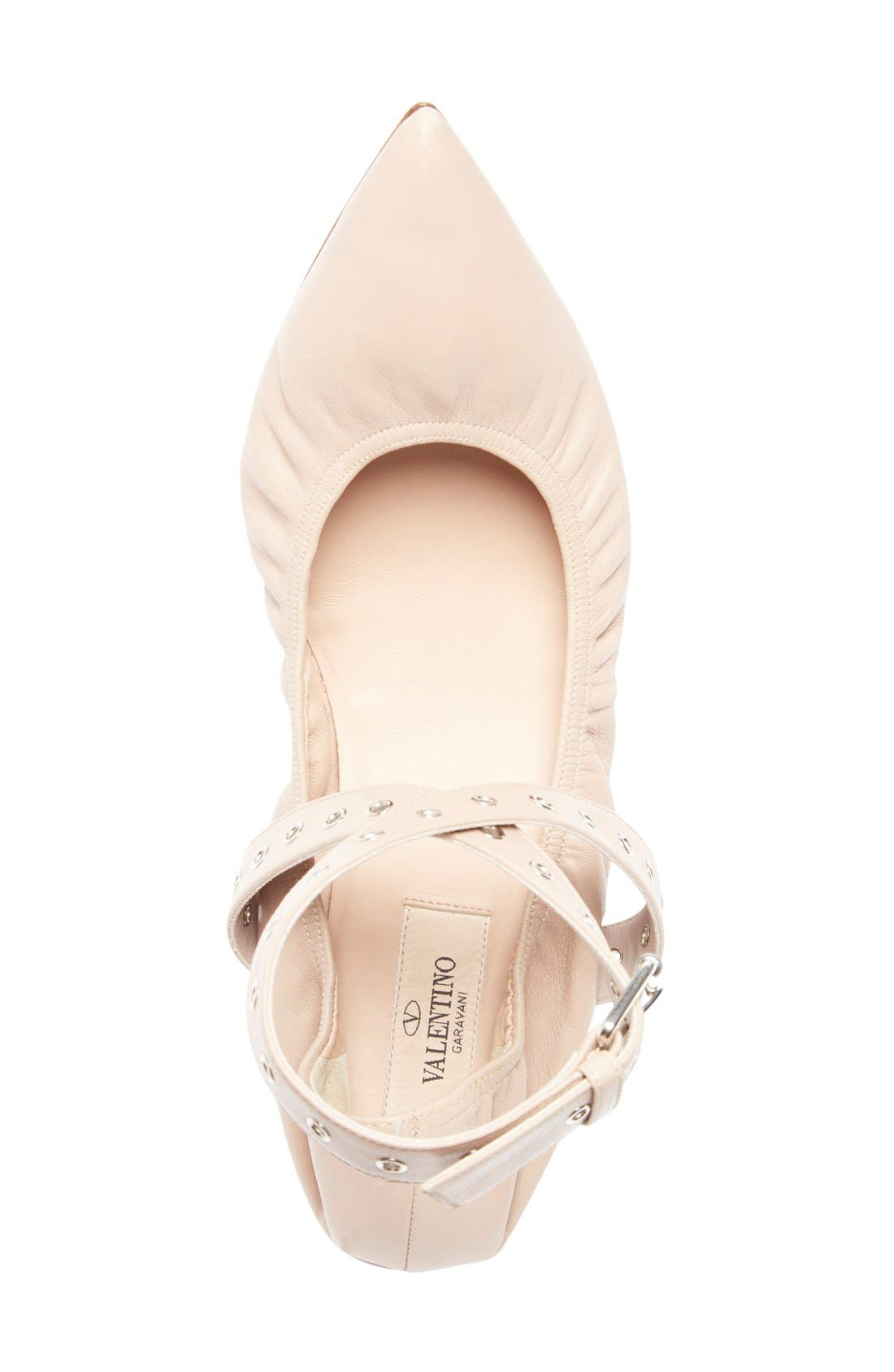 'Love Latch' Pointy Toe Flat,                             Alternate thumbnail 3, color,                             Nude Leather