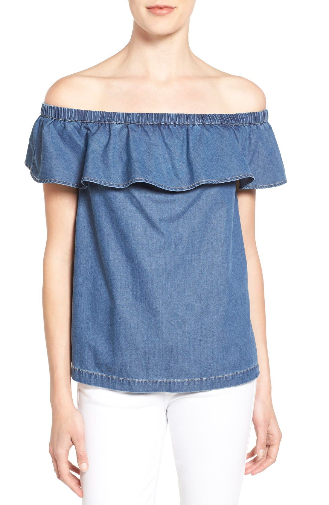 Off the Shoulder Chambray Top,                             Main thumbnail 1, color,                             Blue Refined Chambray