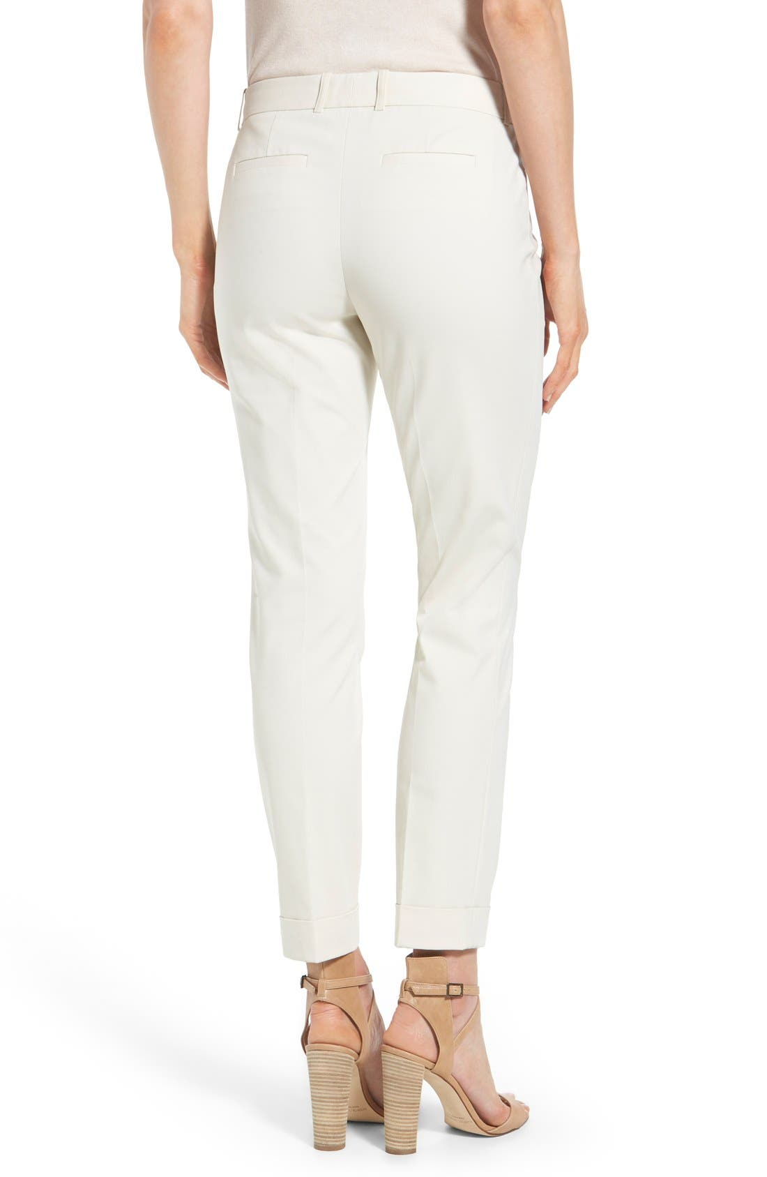 'Downtown' Stretch Cotton Blend Cuff Ankle Pants,                             Alternate thumbnail 2, color,                             Raffia