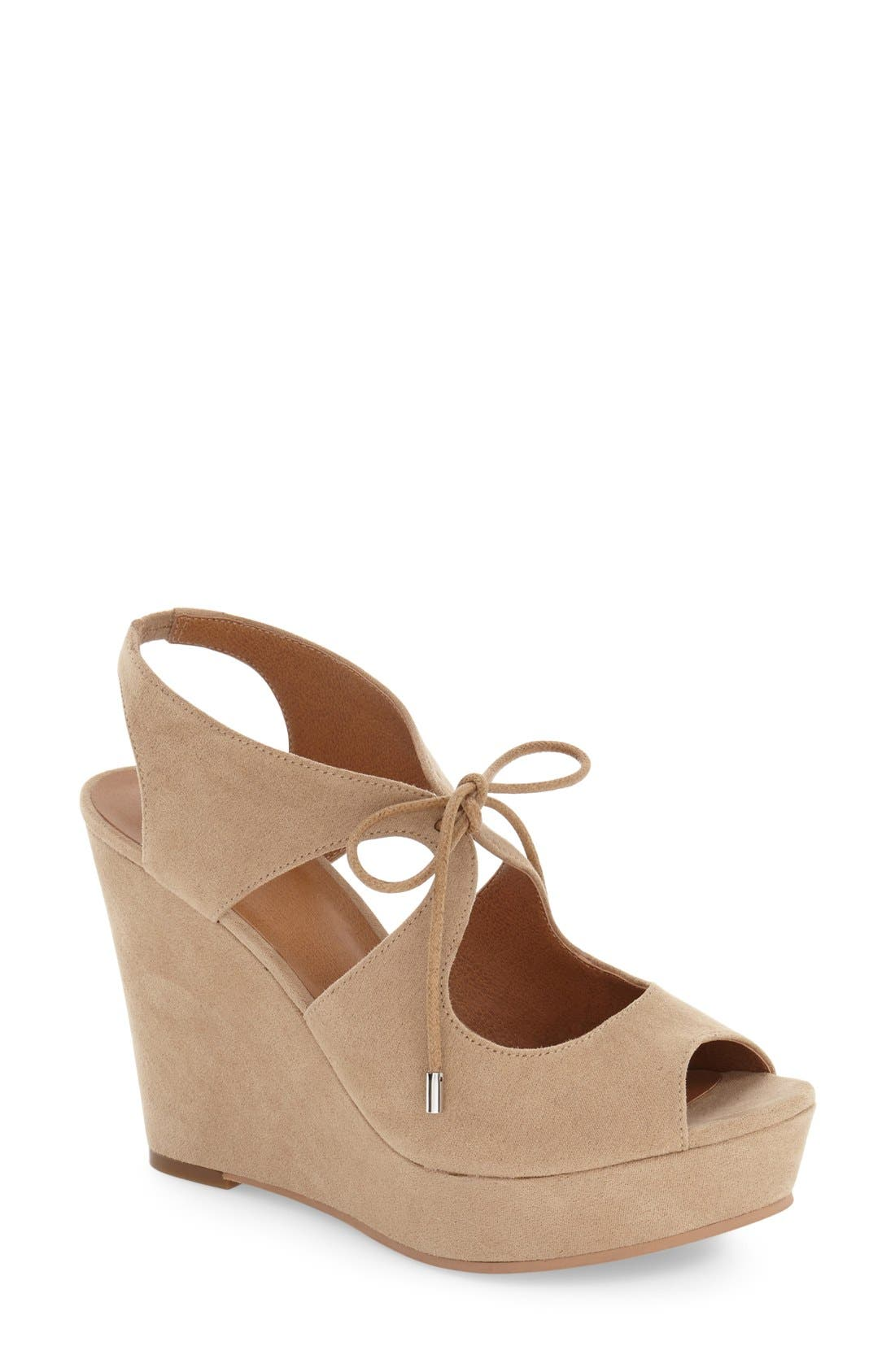 'Solar' Platform Wedge Sandal,                             Main thumbnail 1, color,                             Light Taupe Faux Suede