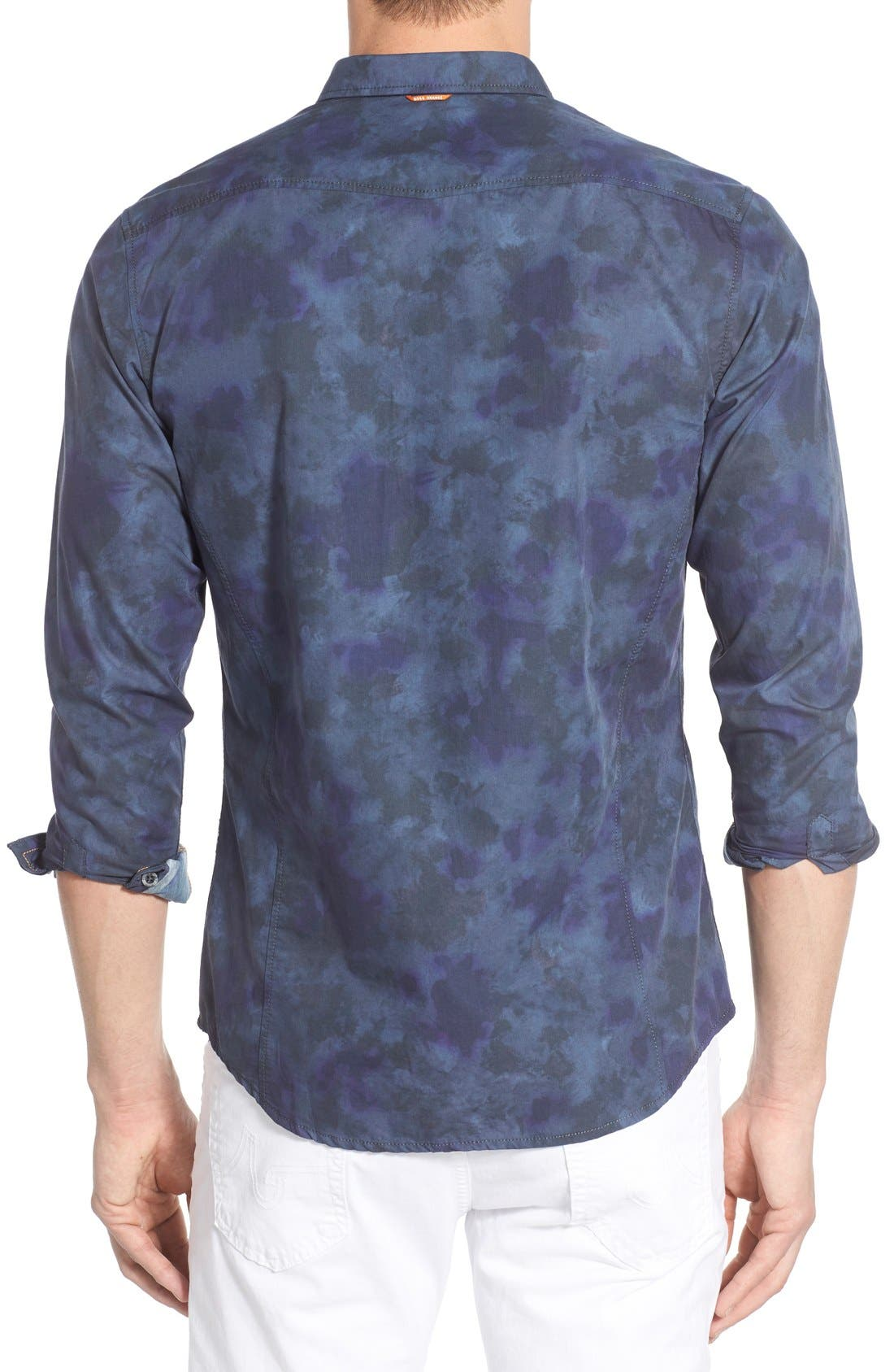 Edoslime Extra Trim Fit Print Woven Shirt,                             Alternate thumbnail 2, color,                             Dark Blue