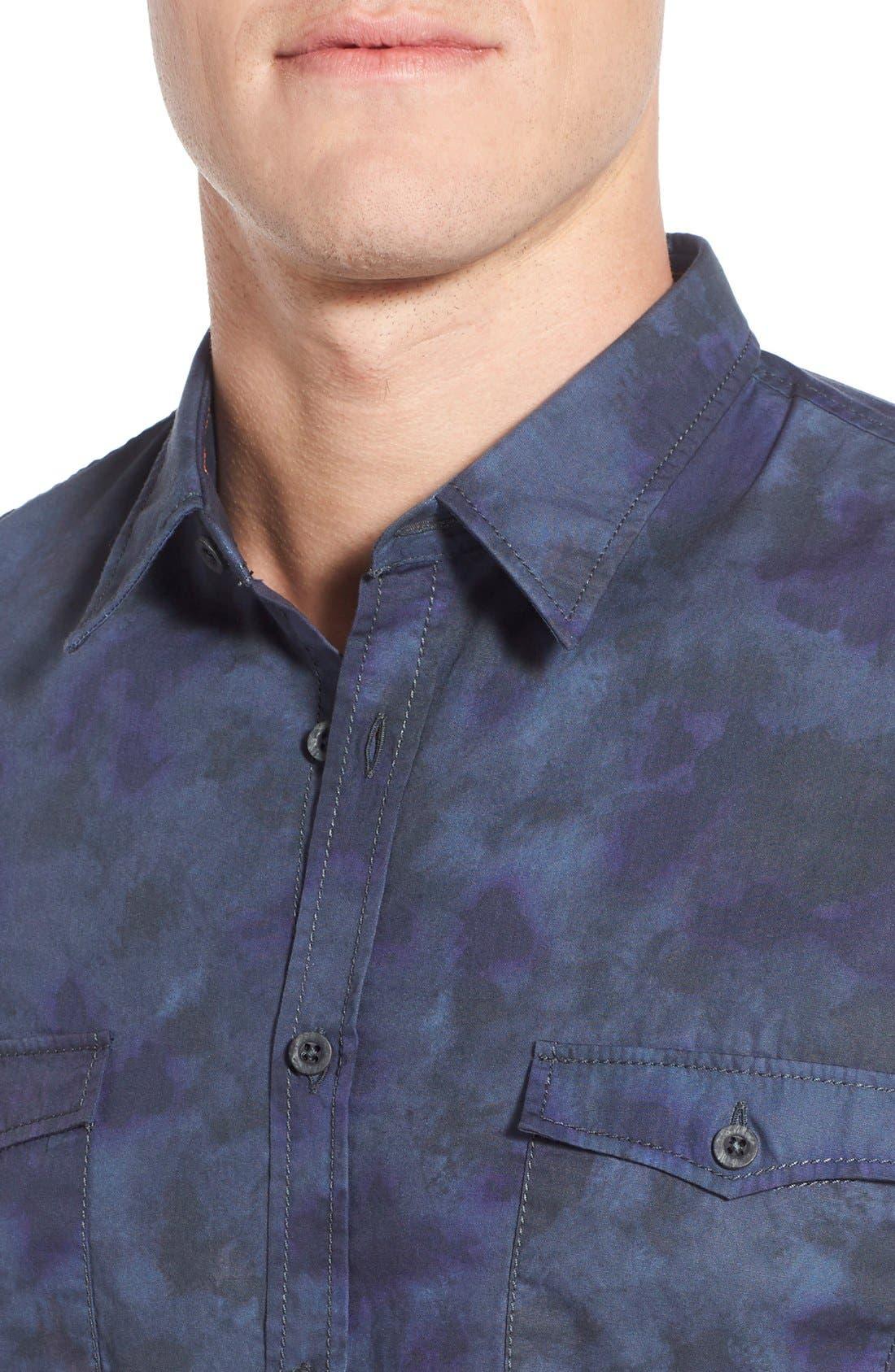 Edoslime Extra Trim Fit Print Woven Shirt,                             Alternate thumbnail 4, color,                             Dark Blue