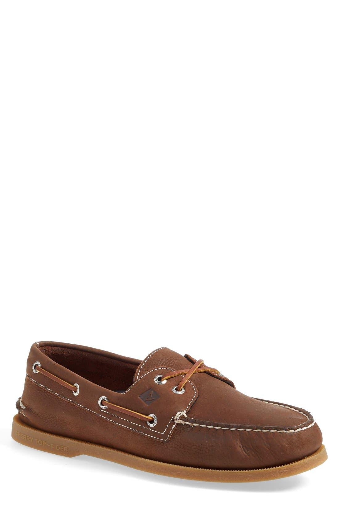 'Authentic Original' Boat Shoe,                         Main,                         color, Brown Leather