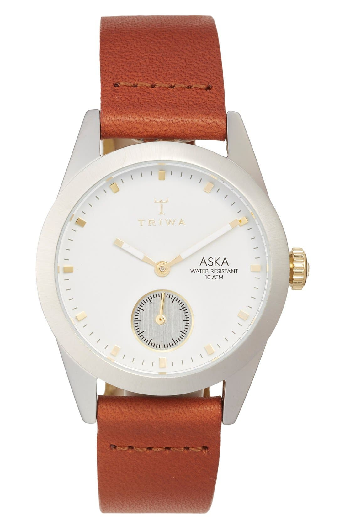 Snow Aska Leather Strap Watch, 32mm,                         Main,                         color, Brown