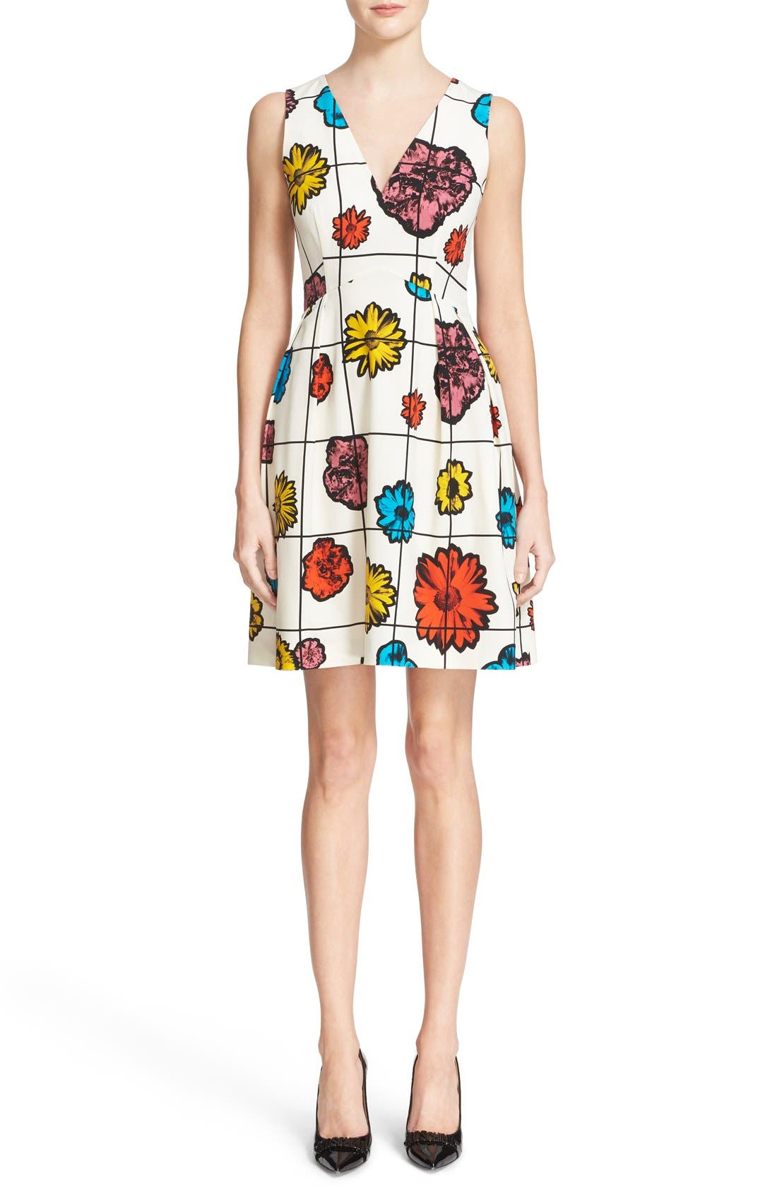 Alternate Image 1 Selected - Moschino Floral & Grid Print Wool Blend Dress