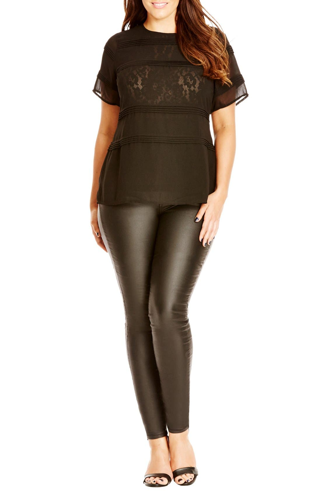 Alternate Image 1 Selected - City Chic Pintuck Lace Layer Top (Plus Size)