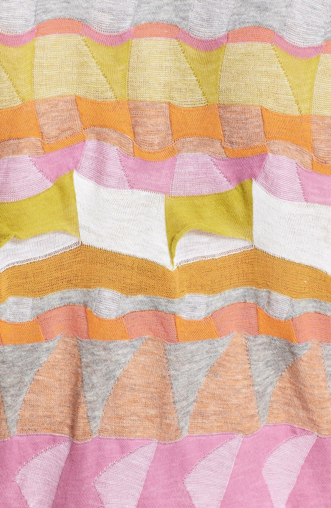 Multi Border Jacquard Top,                             Alternate thumbnail 3, color,                             Pink/ Orange