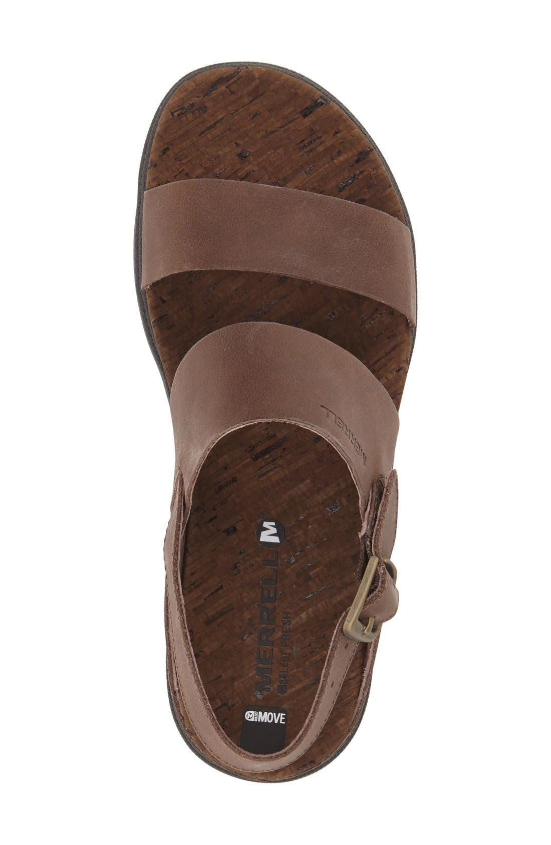 'Around Town' Slingback Sandal,                             Alternate thumbnail 3, color,                             Brown Leather