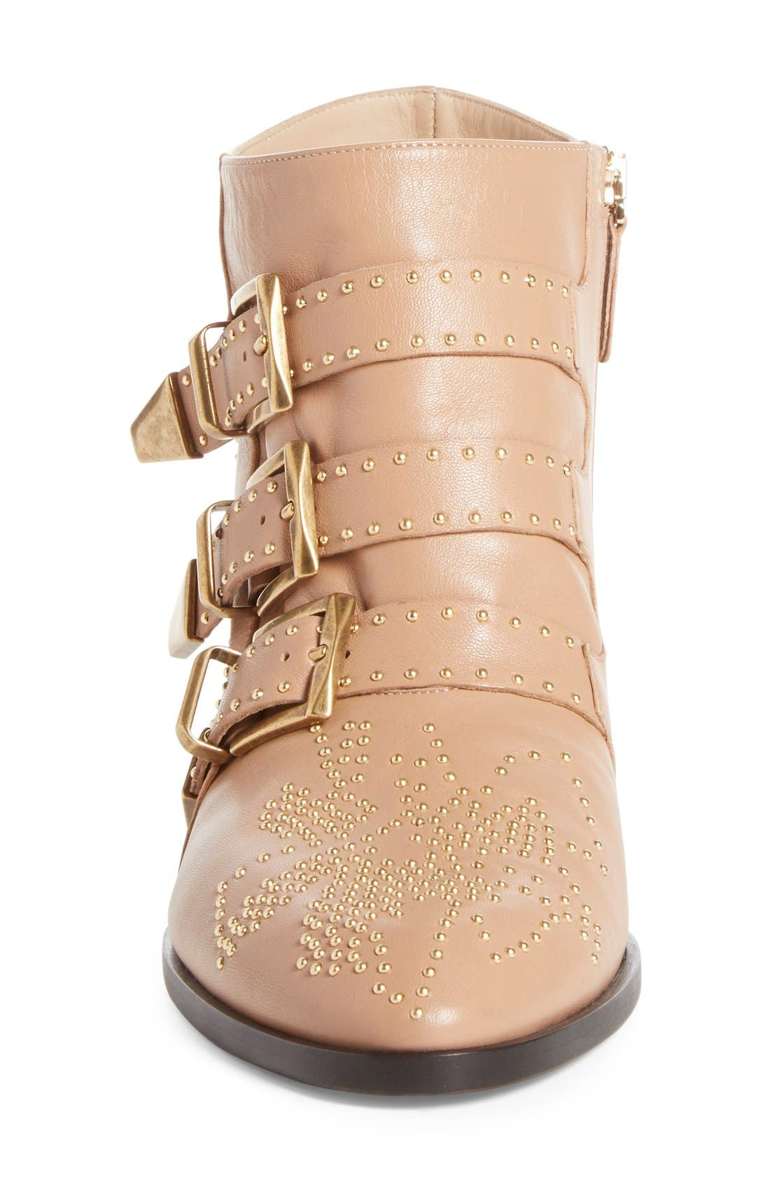 Susanna Stud Buckle Bootie,                             Alternate thumbnail 3, color,                             Beige Gold Leather
