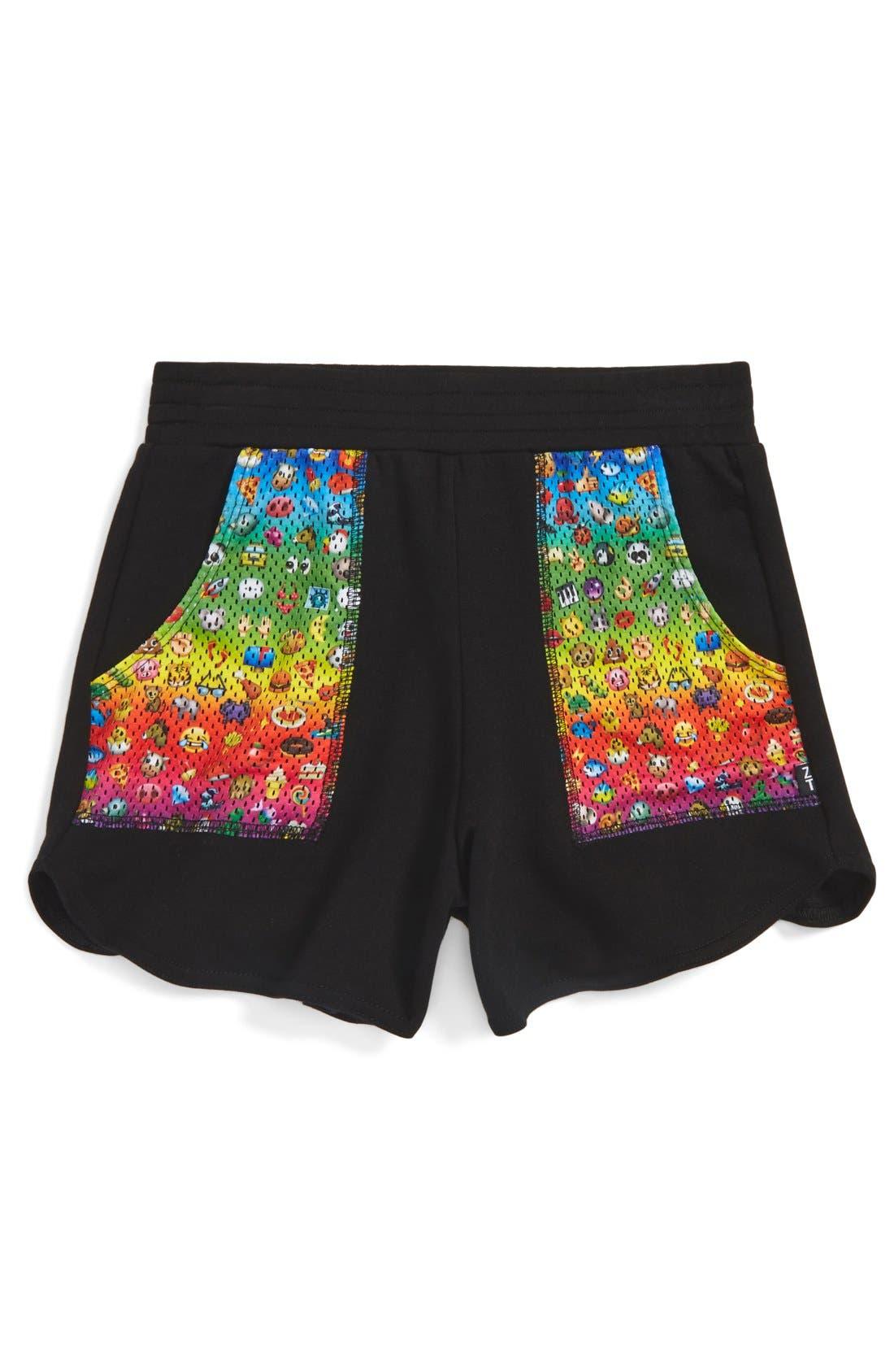 Alternate Image 1 Selected - Terez 'Rainbow Emoji' Shorts (Big Girls)