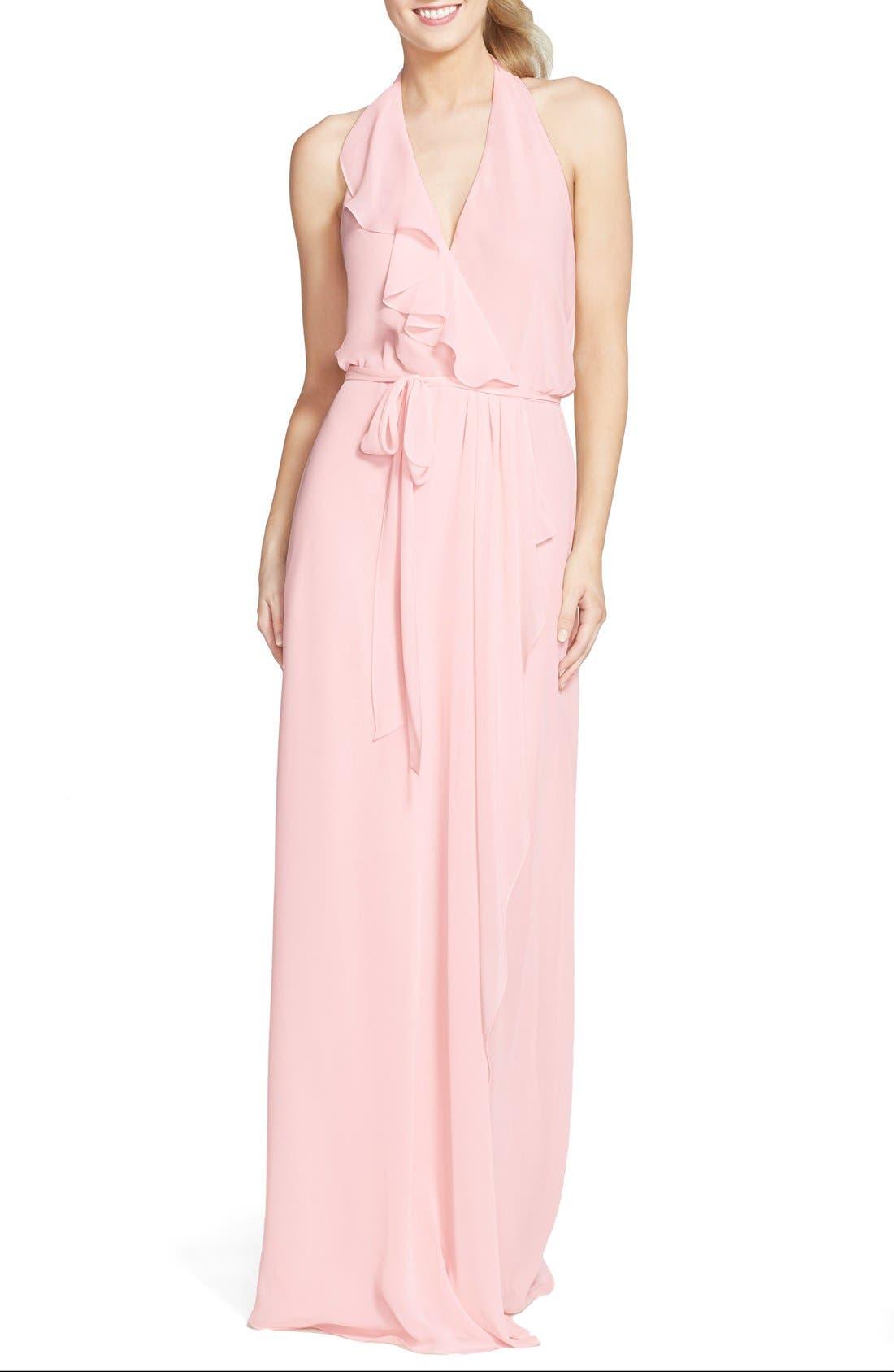 'Erica' Ruffle Chiffon Halter Neck Wrap Gown,                         Main,                         color, Peony