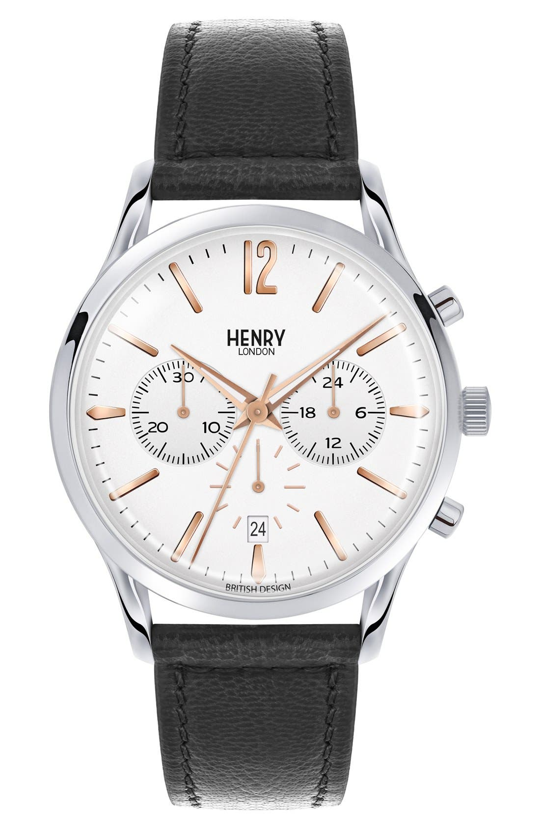 Henry London 'Highgate' Chronograph Leather Strap Watch, 41mm