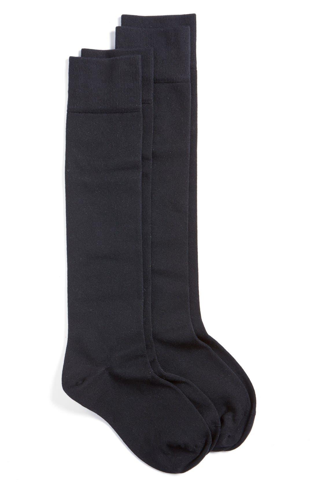 2-Pack Knee High Socks,                             Main thumbnail 1, color,                             Black