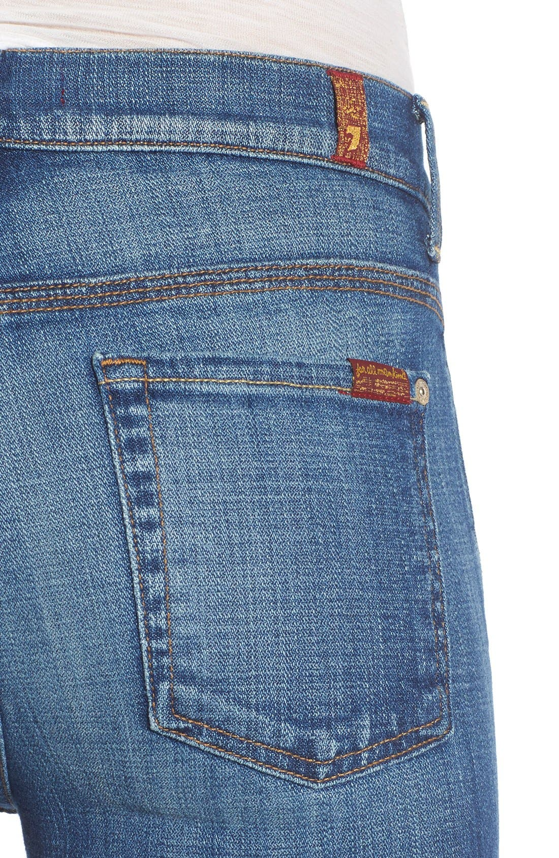 Alternate Image 4  - 7 For All Mankind® 'Ginger' High Rise Raw Hem Flare Jeans (Athens Broken Twill)